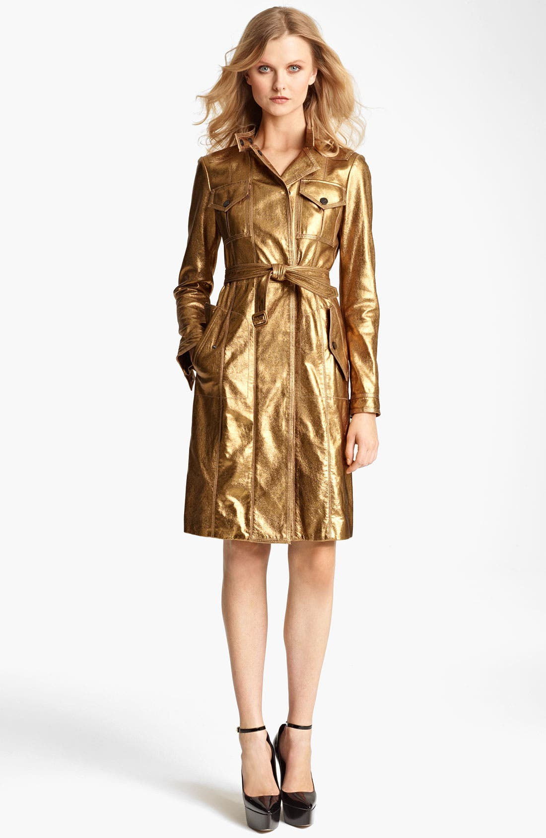 Main Image - Burberry London Lightweight Metallic Leather Trench Coat