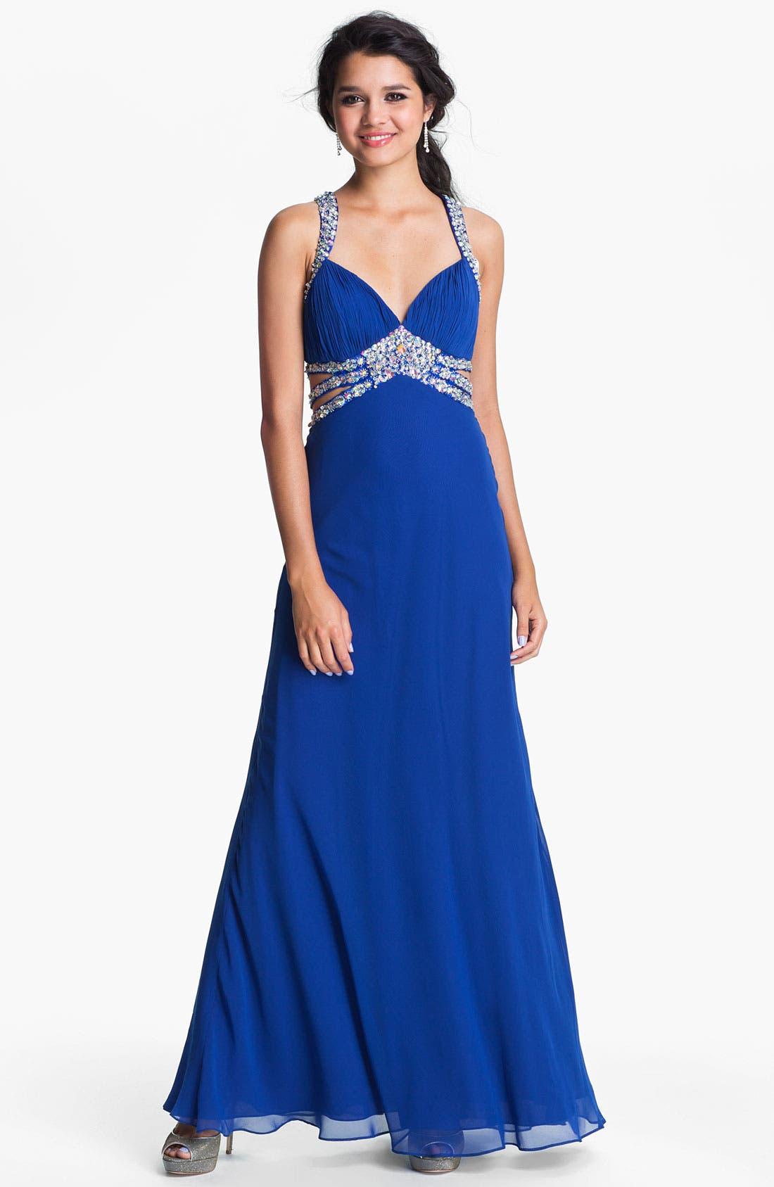 Main Image - Faviana Beaded Halter Chiffon Dress (Online Only)