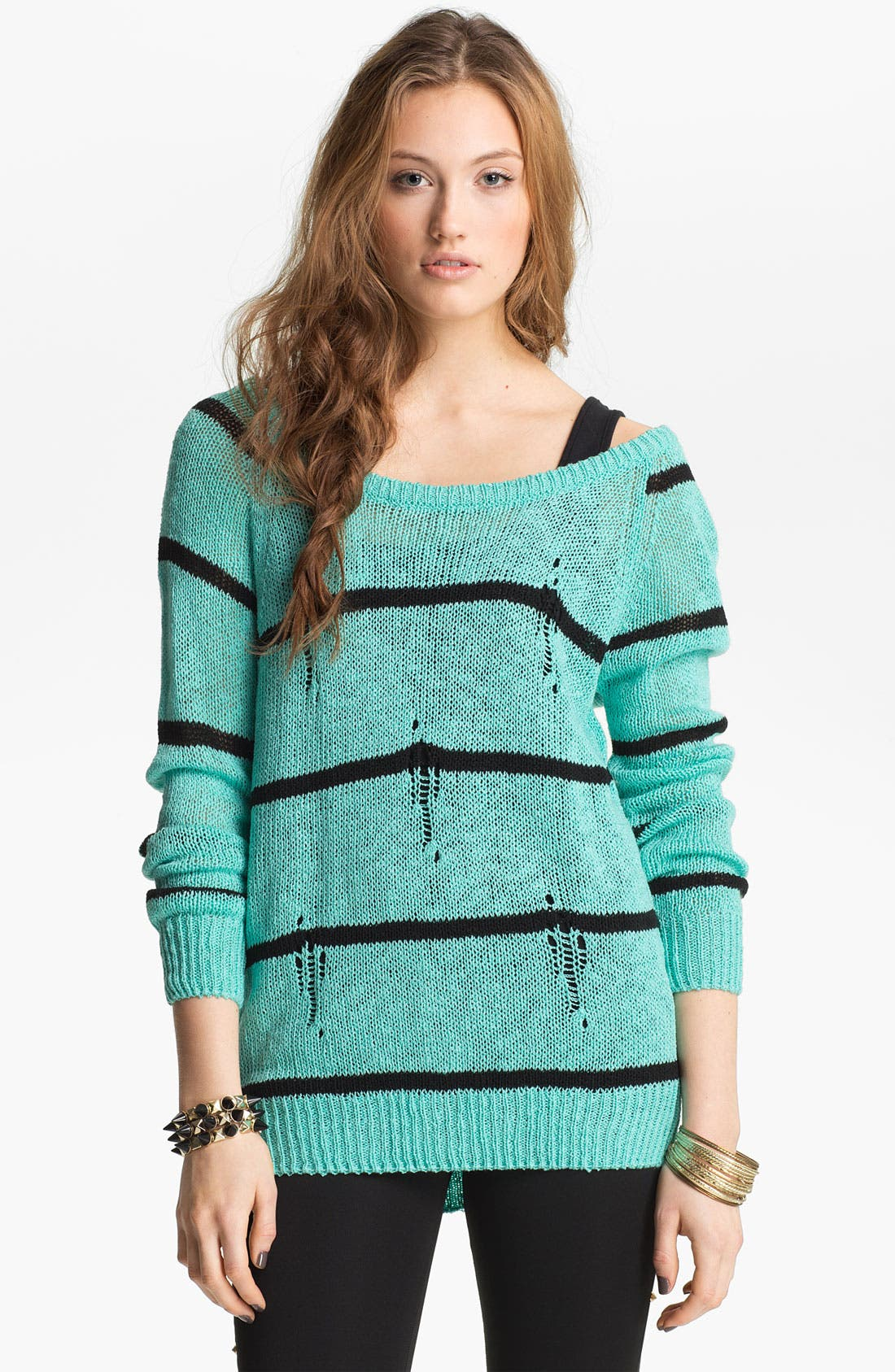 Main Image - Love by Design Destroyed Stripe Sweater (Juniors)