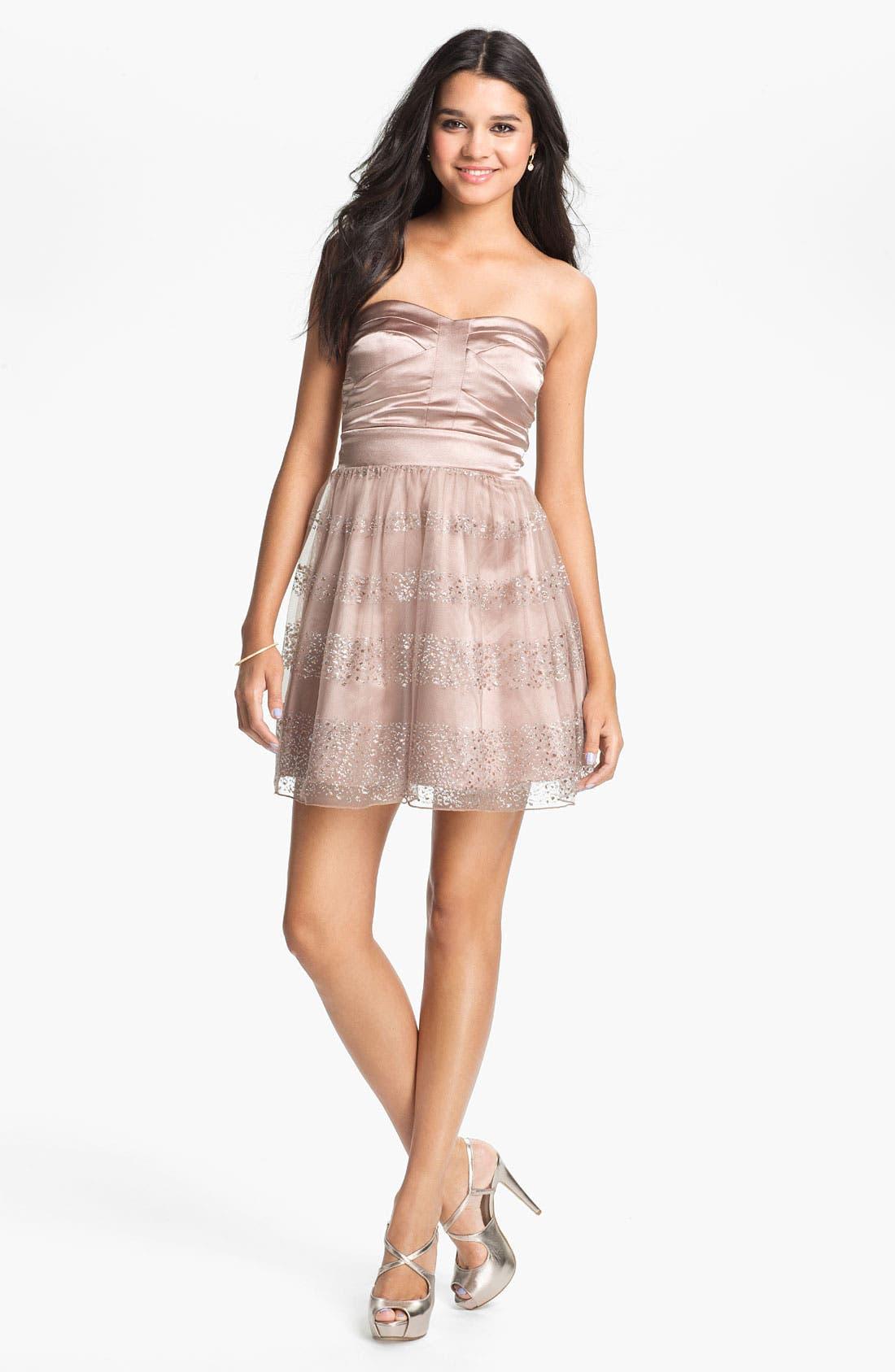 Main Image - Trixxi Glitter Fit & Flare Dress (Juniors)