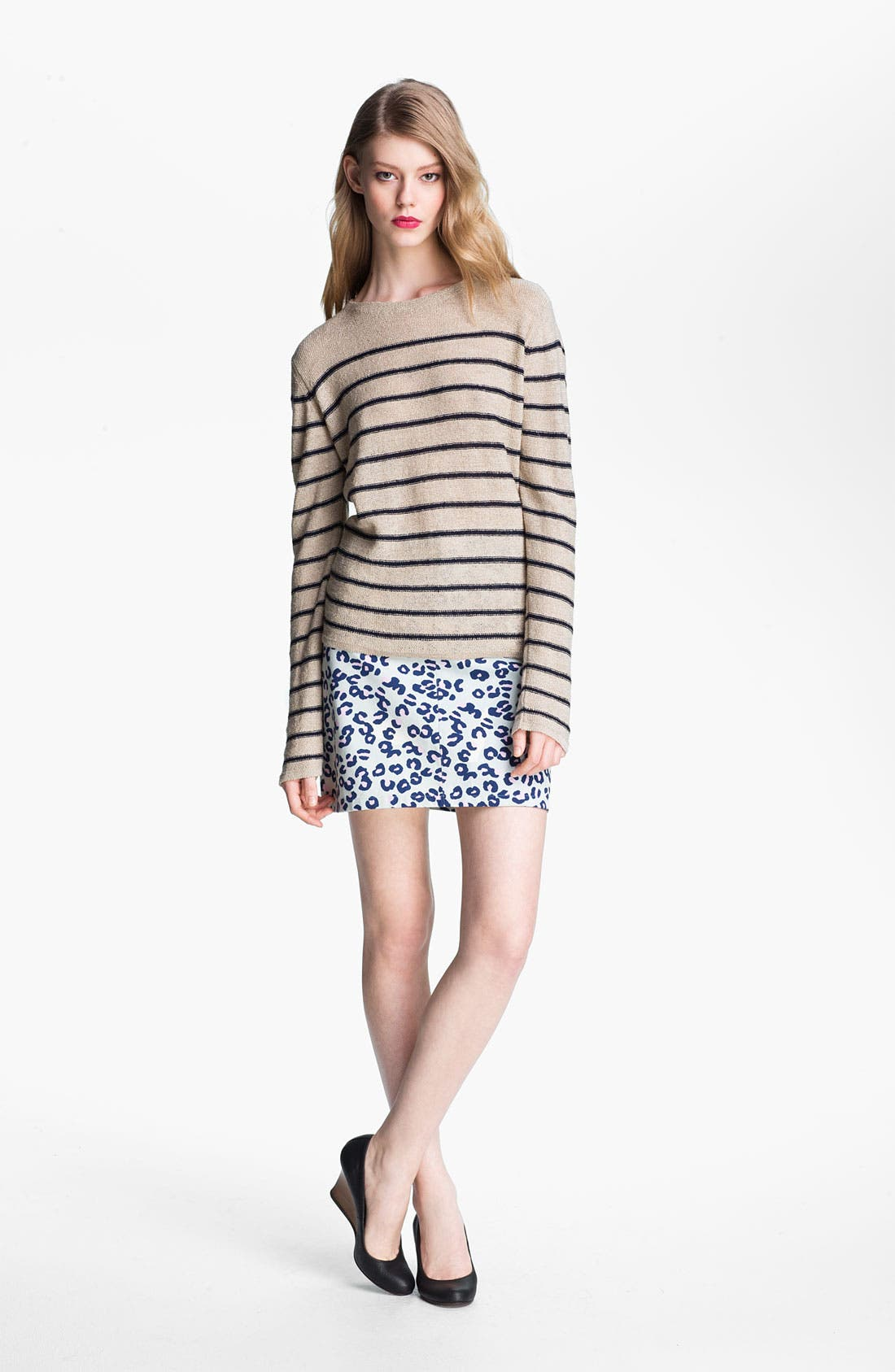 Alternate Image 4  - A.P.C. Leopard Print Denim Miniskirt