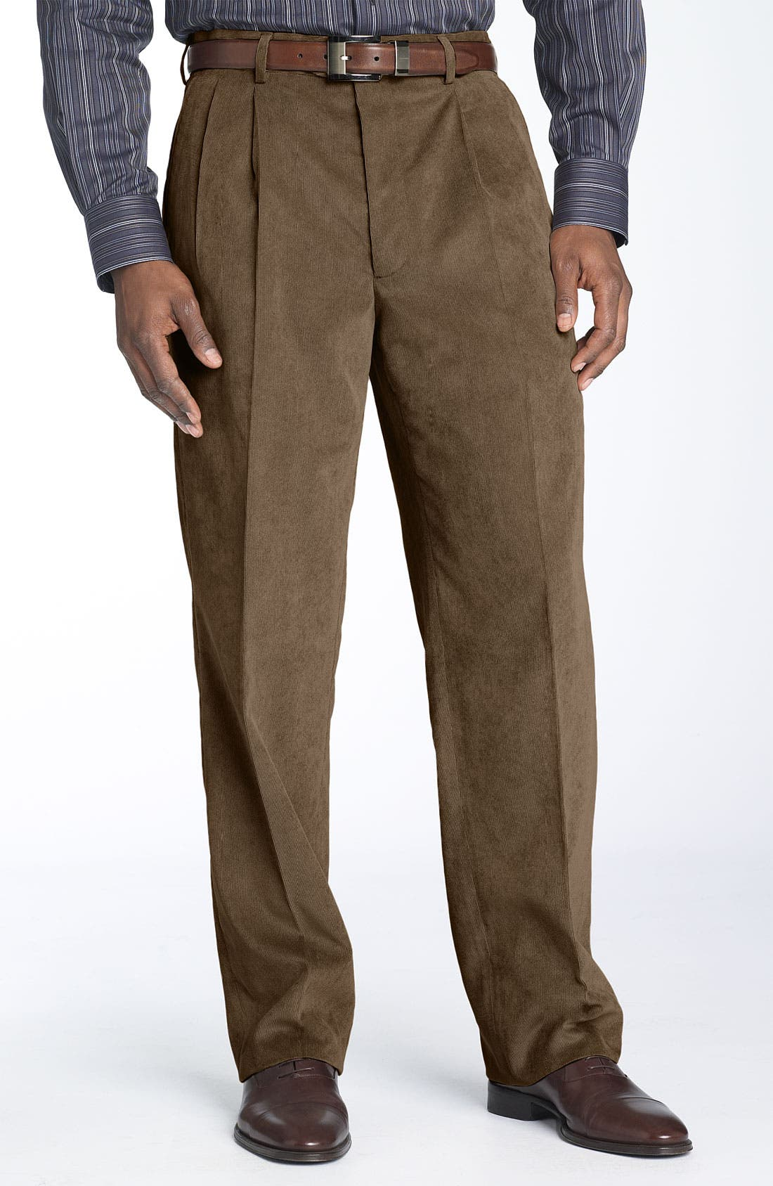 Main Image - Linea Naturale 'Micro-Aire' Double Pleated Corduroy Trousers