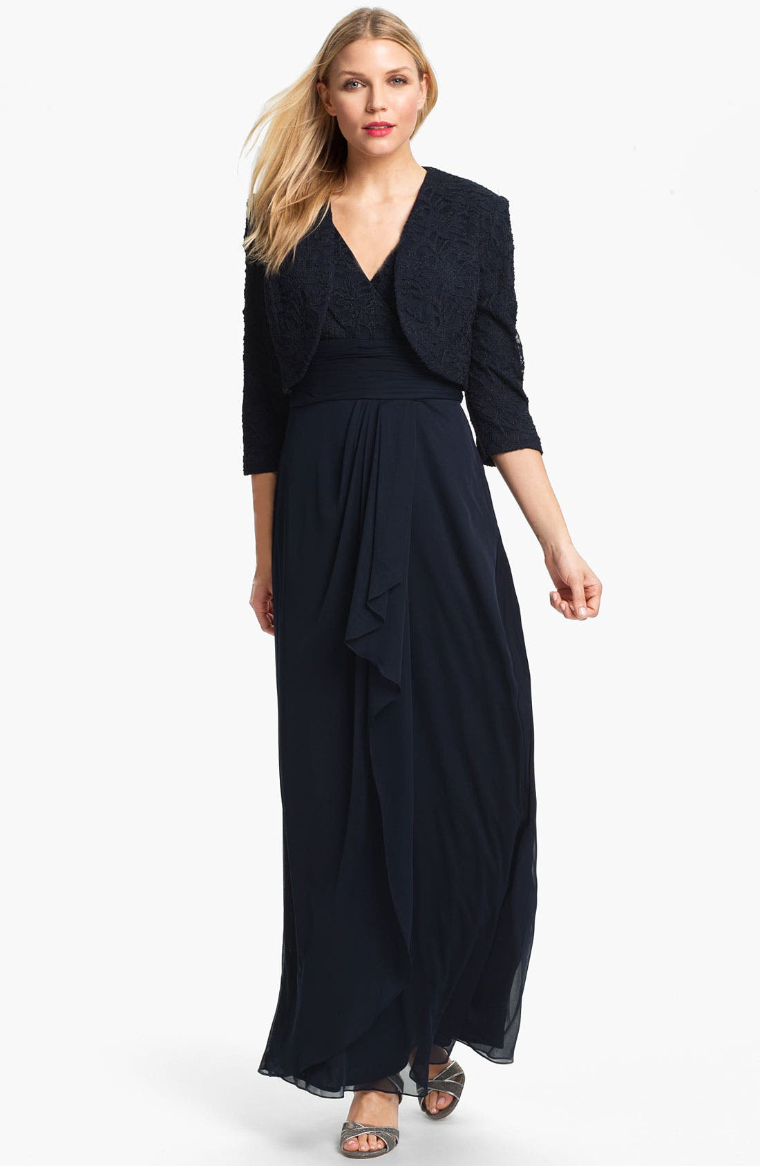 Matte Lace Chiffon Gown & Bolero,                         Main,                         color, Navy