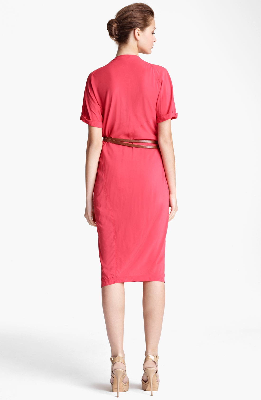 Donna Karan Collection Asymmetrical Draped Crepe Dress,                             Alternate thumbnail 2, color,                             Coral