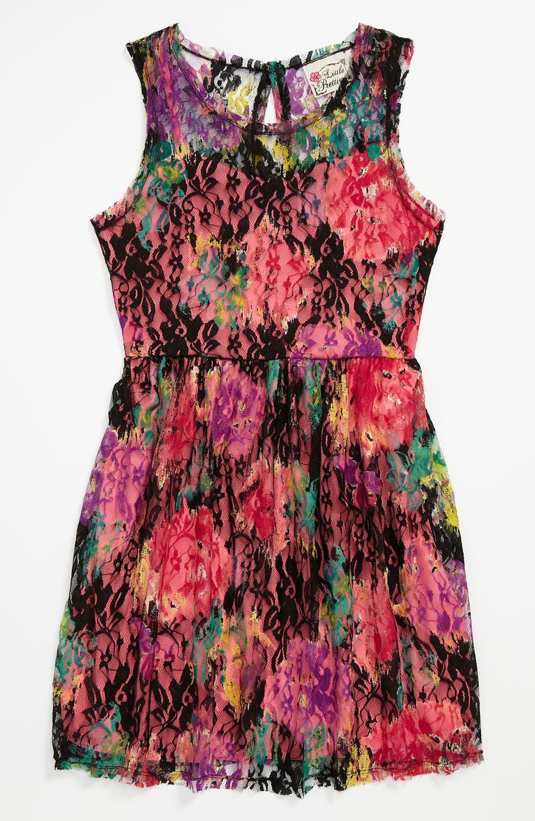 Main Image - Little Pretties Lace Dress (Big Girls)