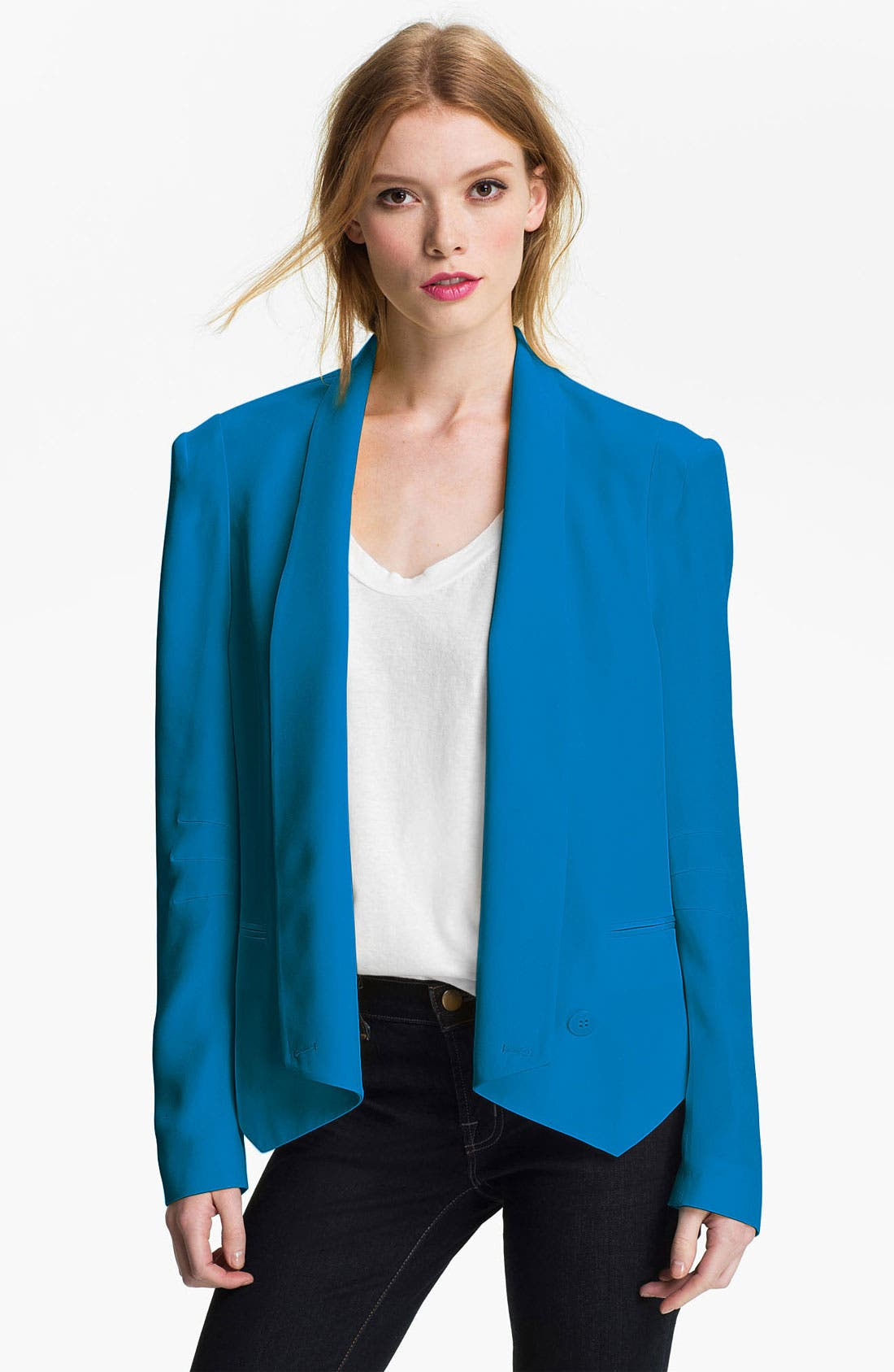 'Becky' Silk Jacket,                             Main thumbnail 1, color,                             Pacific