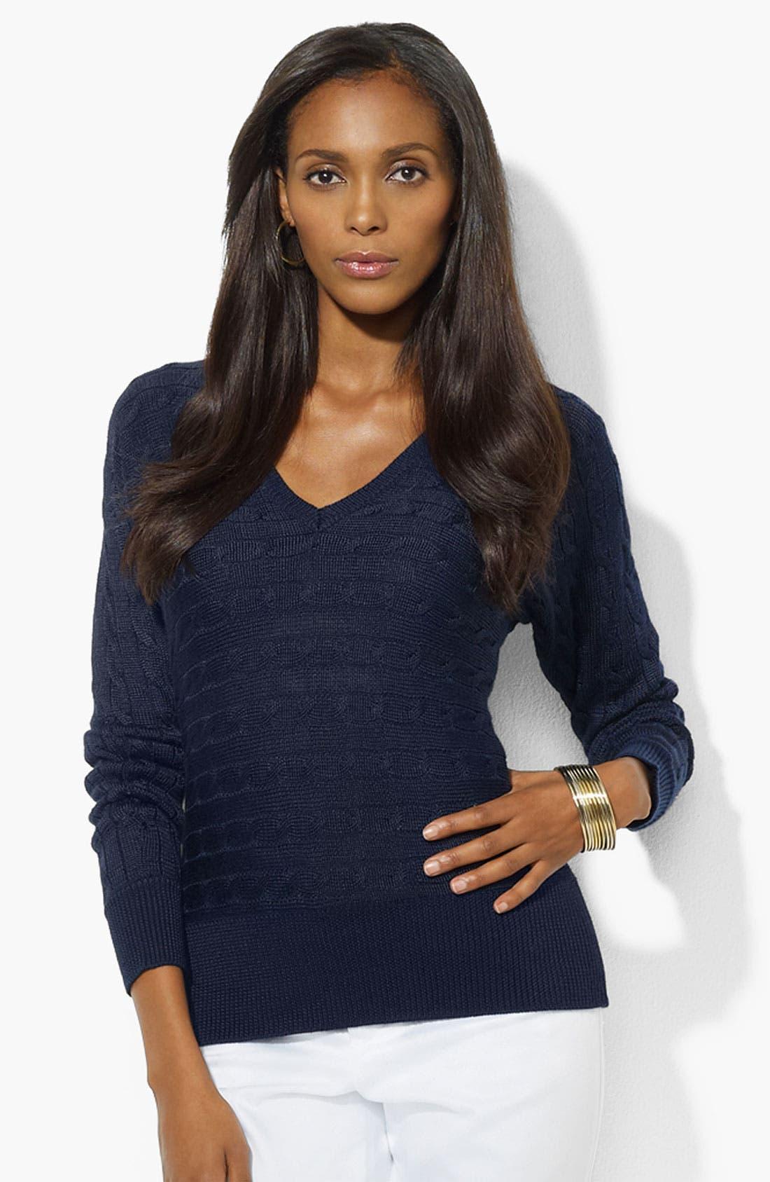 Main Image - Lauren Ralph Lauren Dolman Sleeve V-Neck Sweater