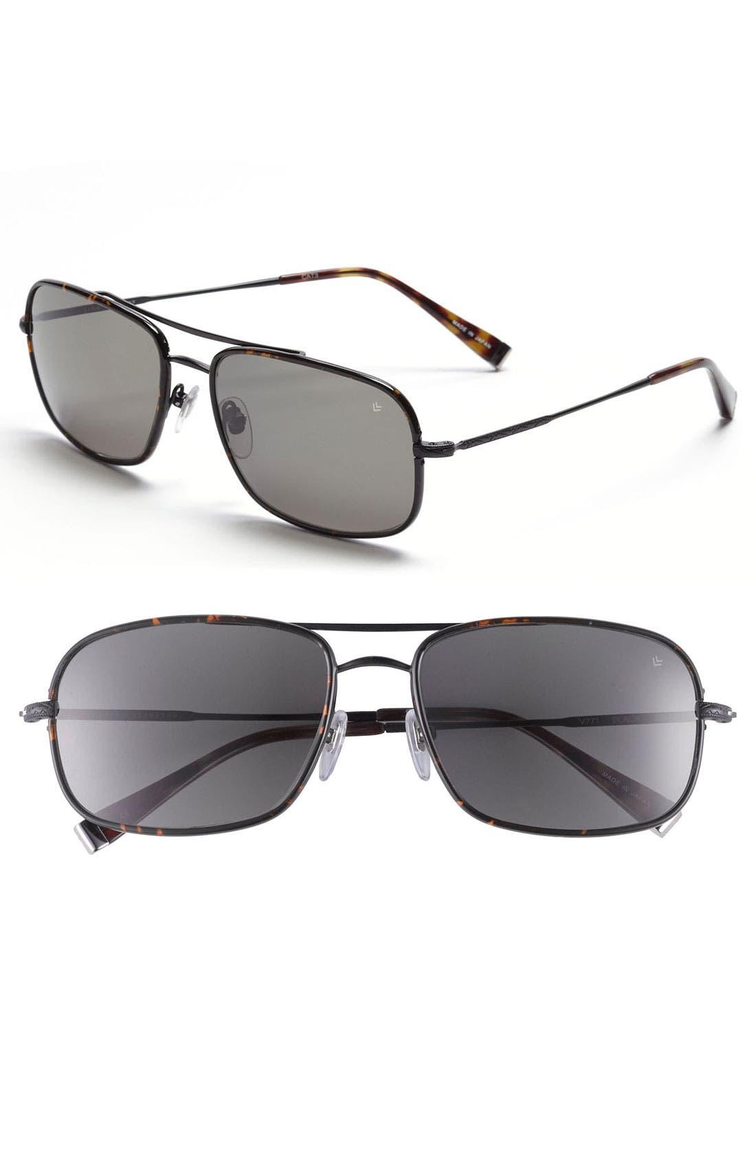 Main Image - John Varvatos Collection 58mm Rectangular Aviator Sunglasses