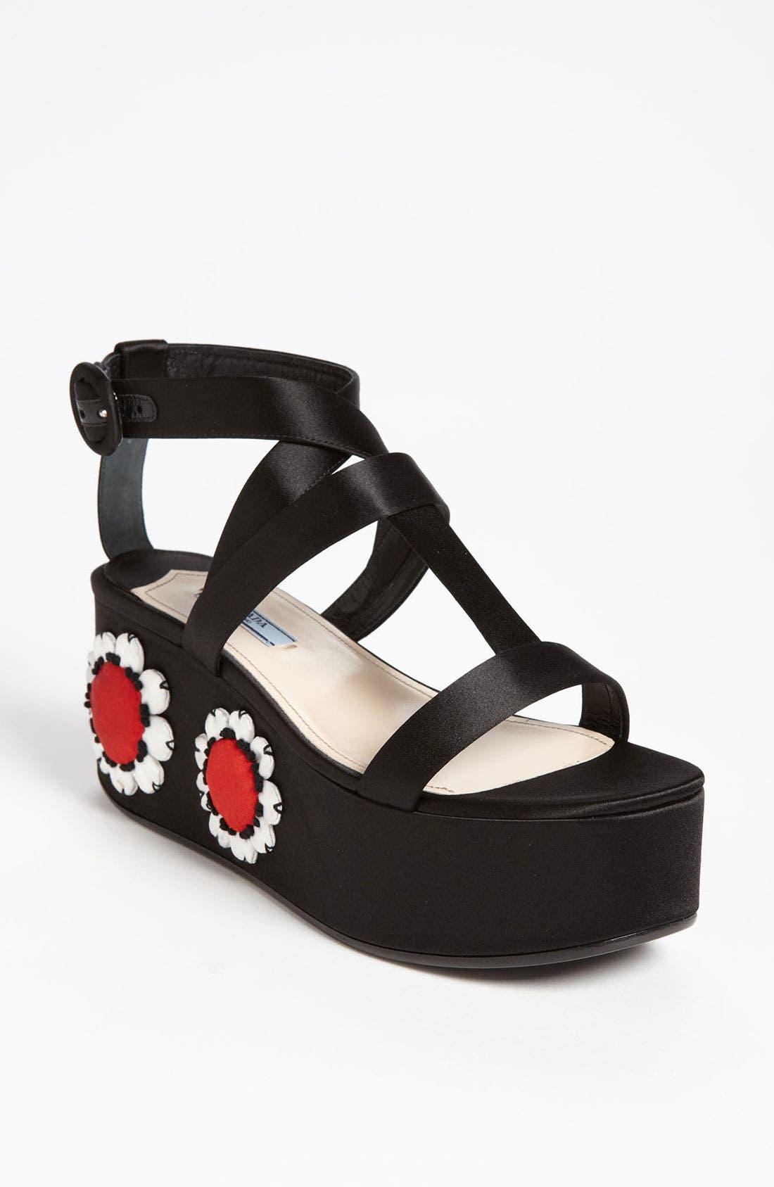 Main Image - Prada Floral Platform Sandal