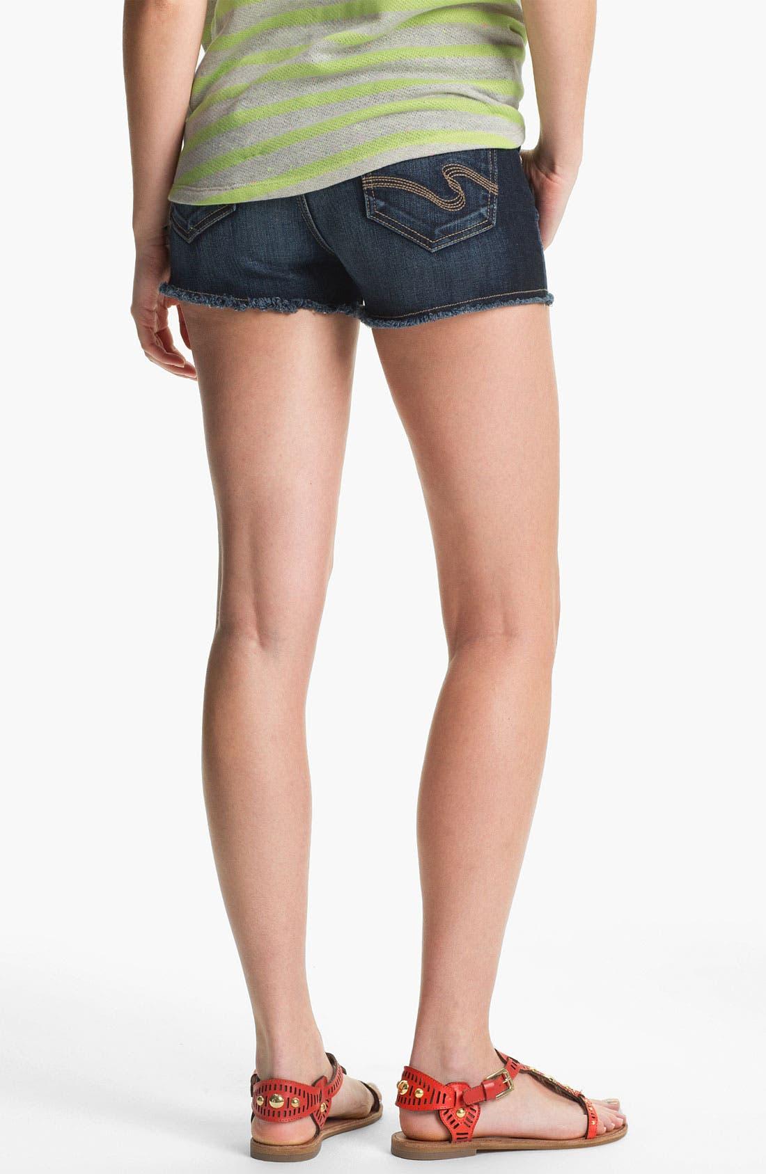 Alternate Image 2  - STS Blue Cutoff Denim Shorts (Dark) (Juniors)