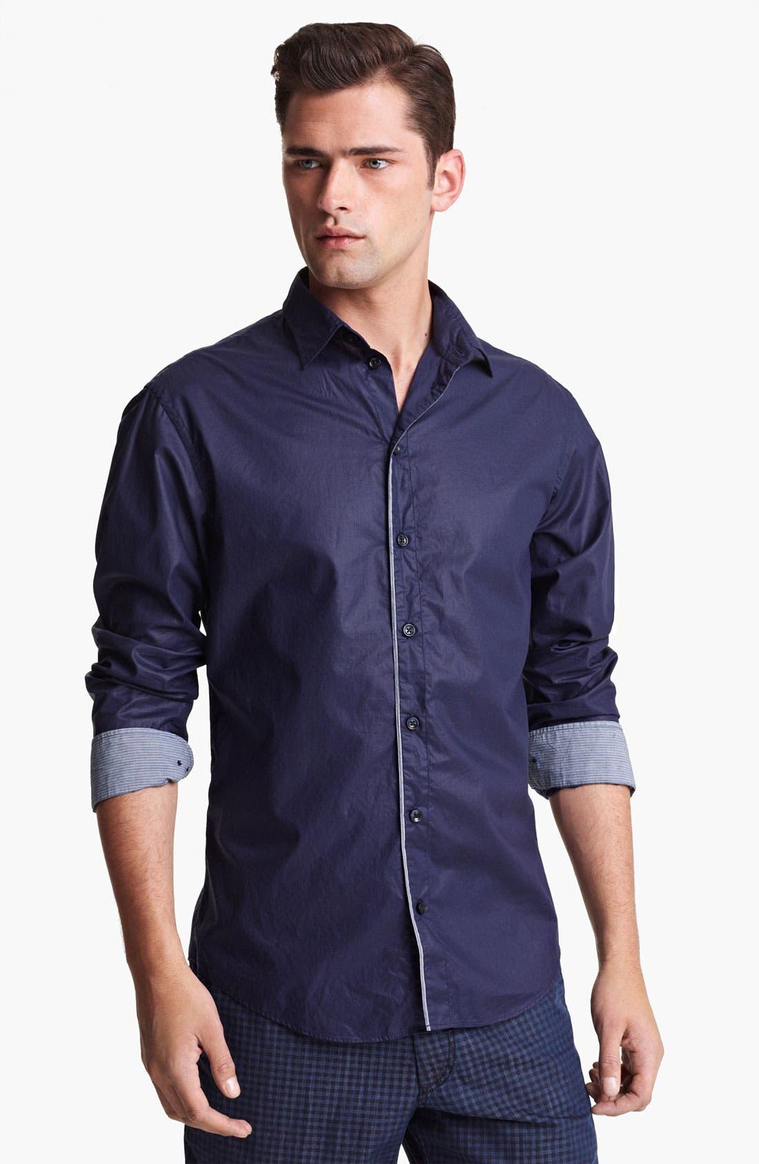 Main Image - Armani Collezioni Micro Houndstooth Sport Shirt