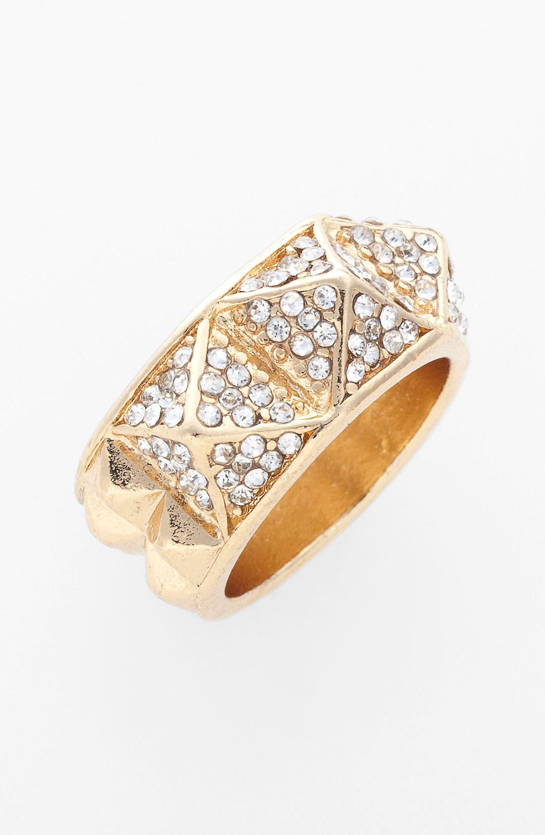 Rhinestone Stud Ring,                         Main,                         color, Gold