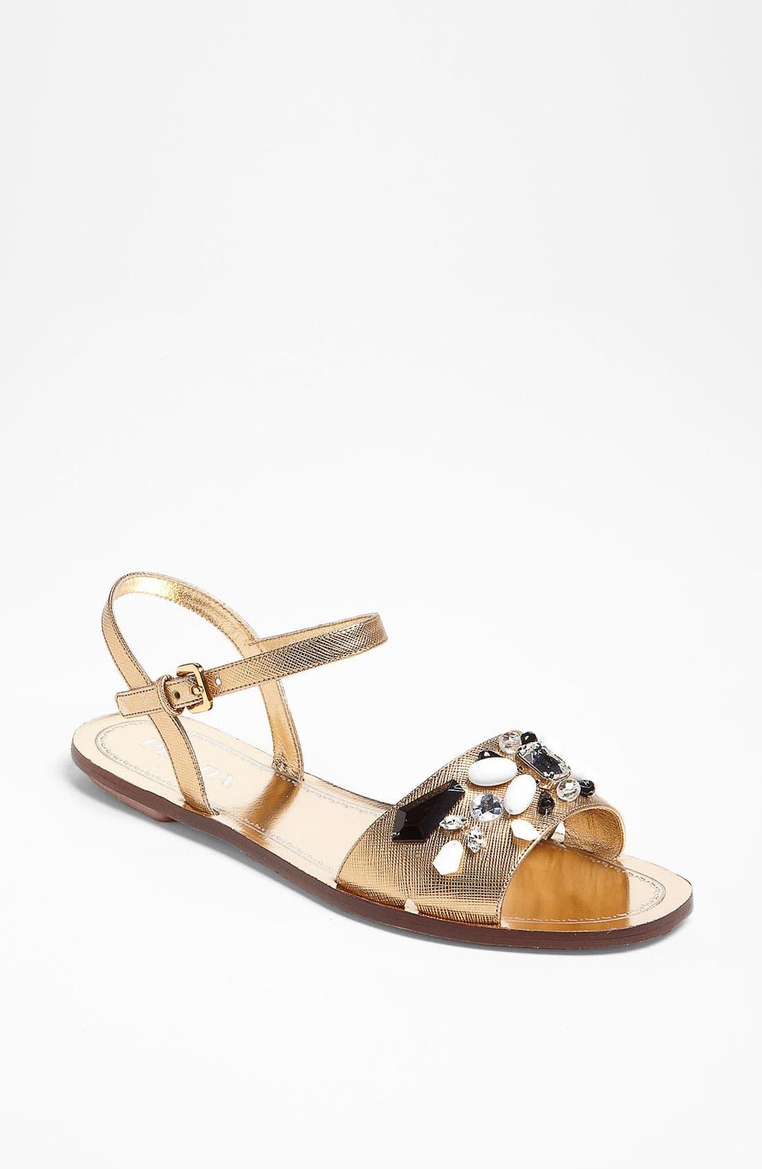 Alternate Image 1 Selected - Prada Beaded Strap Flat Sandal