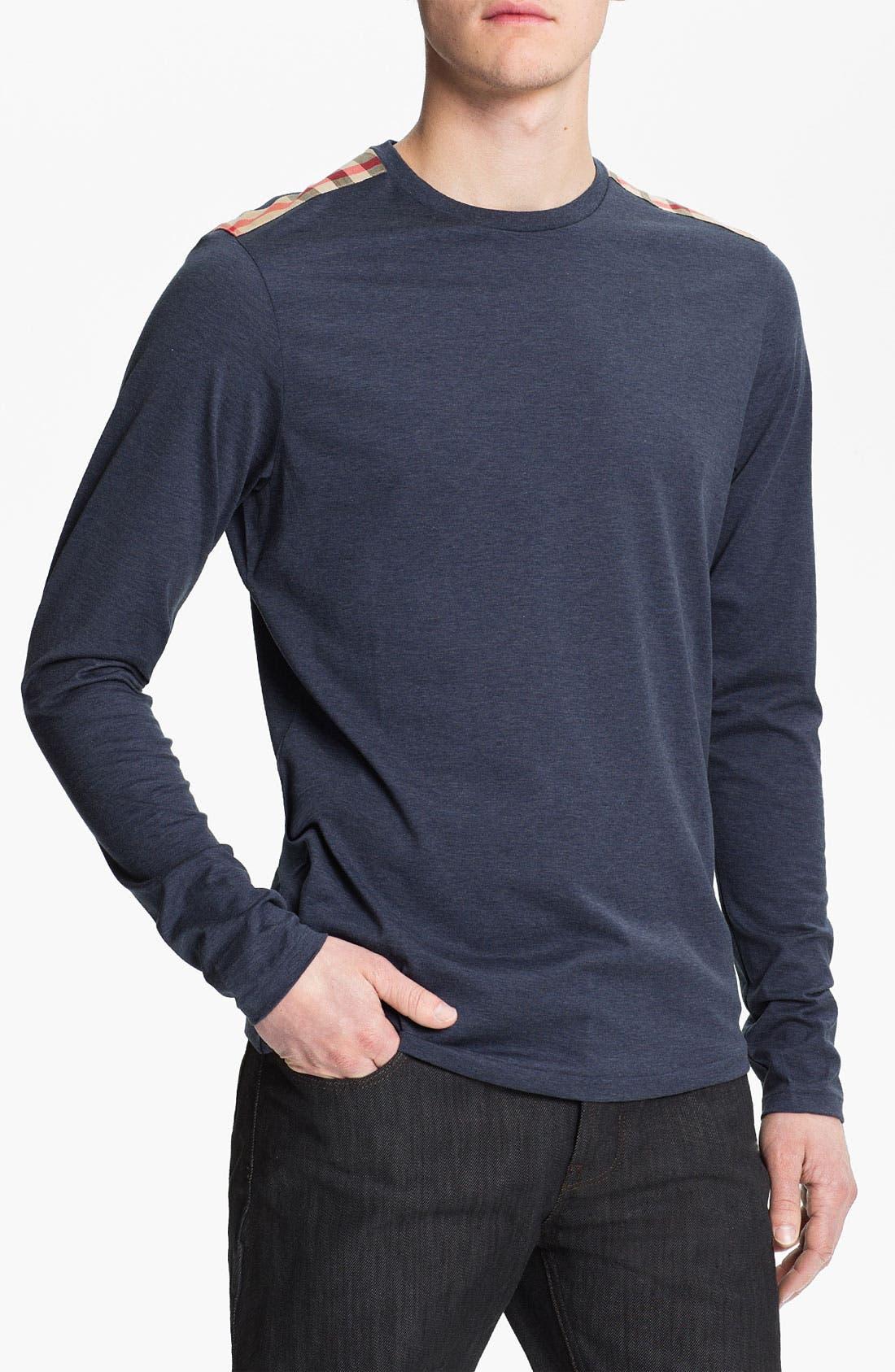 Alternate Image 1 Selected - Burberry Brit Check Trim Crewneck T-Shirt