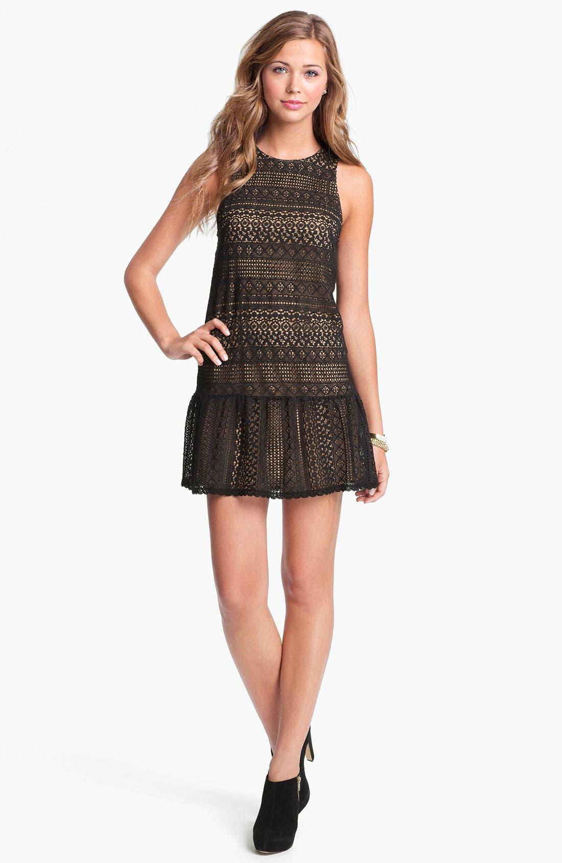 Main Image - Lush Crochet Overlay Shift Dress (Juniors)