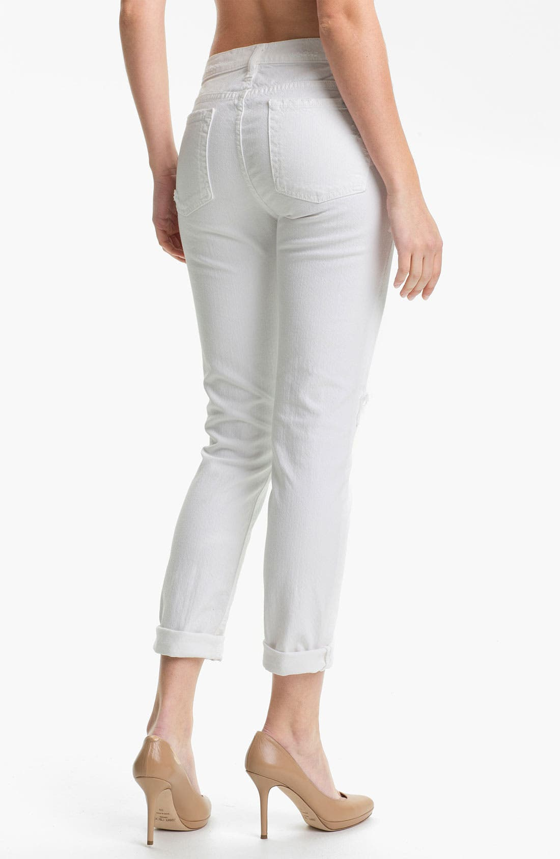 'The Slim Cigarette' Stretch Jeans,                             Alternate thumbnail 2, color,                             White Destroyed