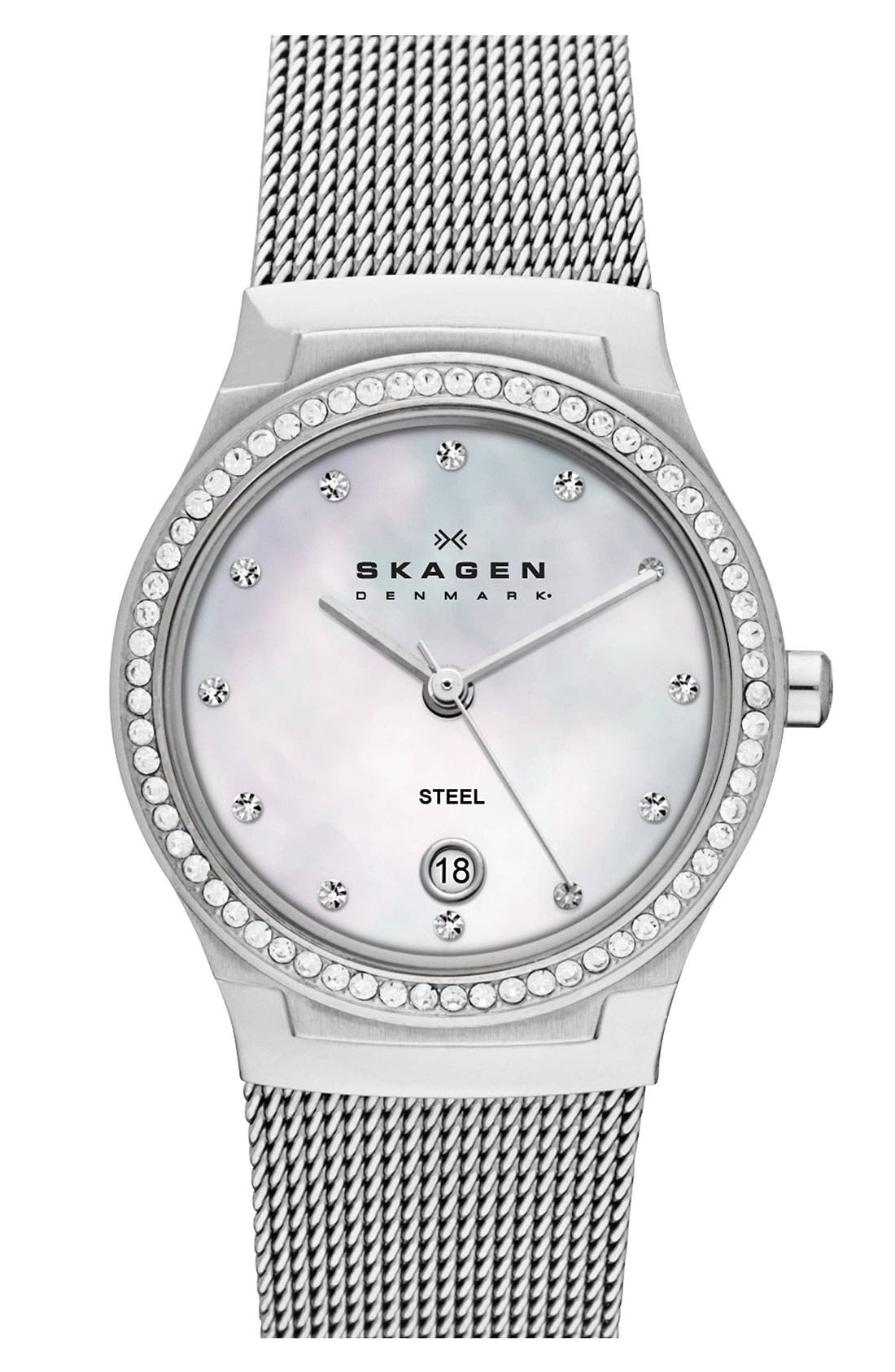 Main Image - Skagen 'Mesh' Round Crystal Bezel Watch, 26mm