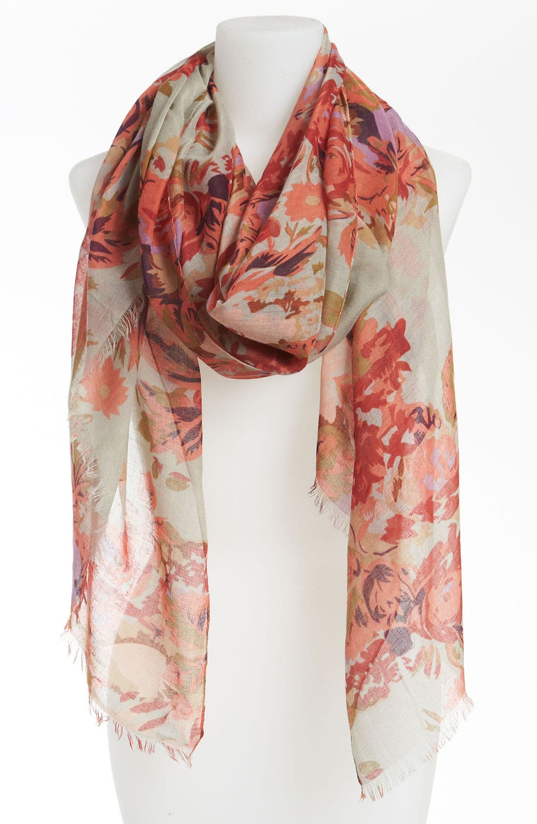 Main Image - David & Young Sheer Floral Scarf (Juniors) (Online Only)