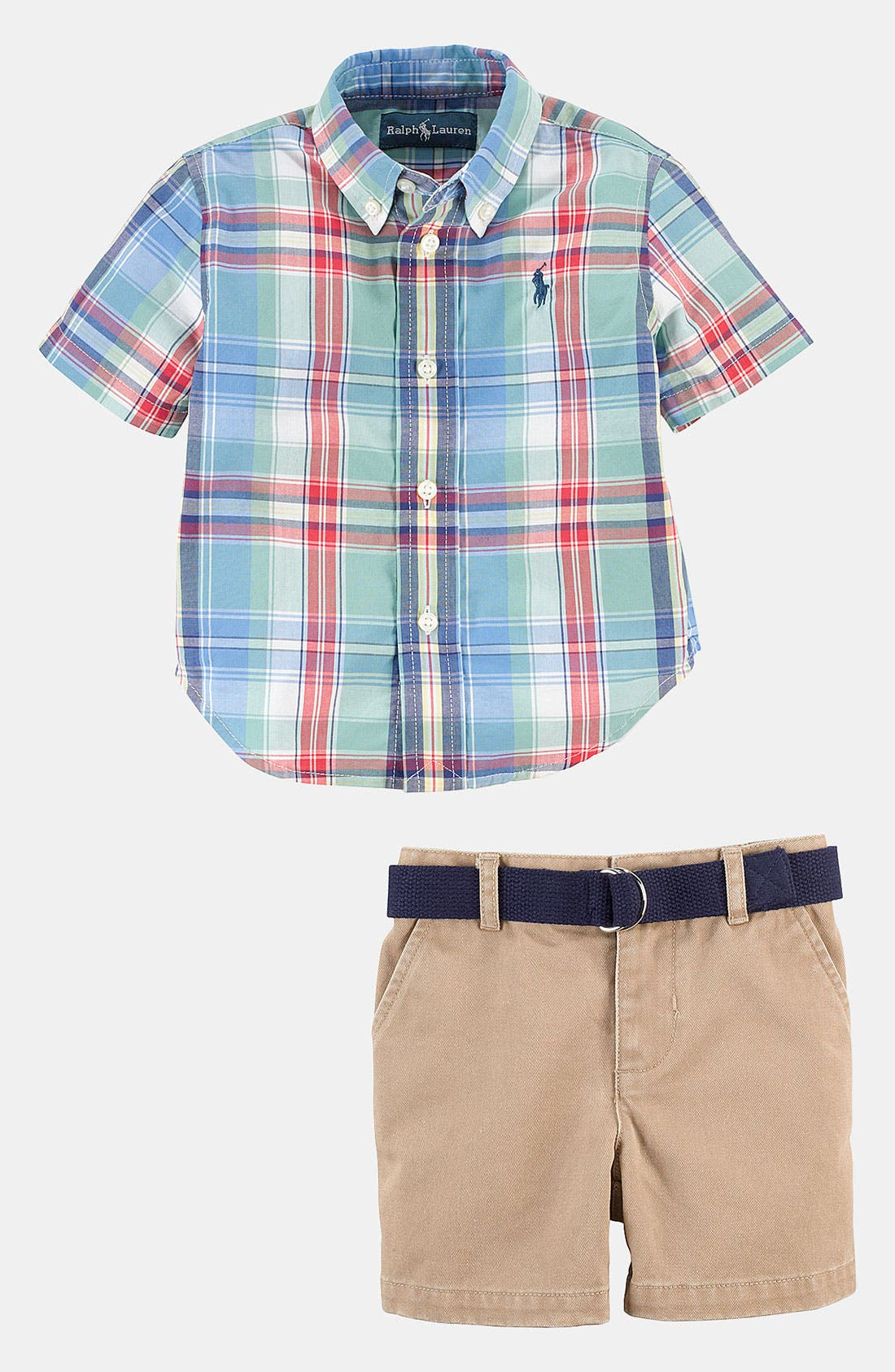 Alternate Image 1 Selected - Ralph Lauren Shirt & Shorts (Baby)