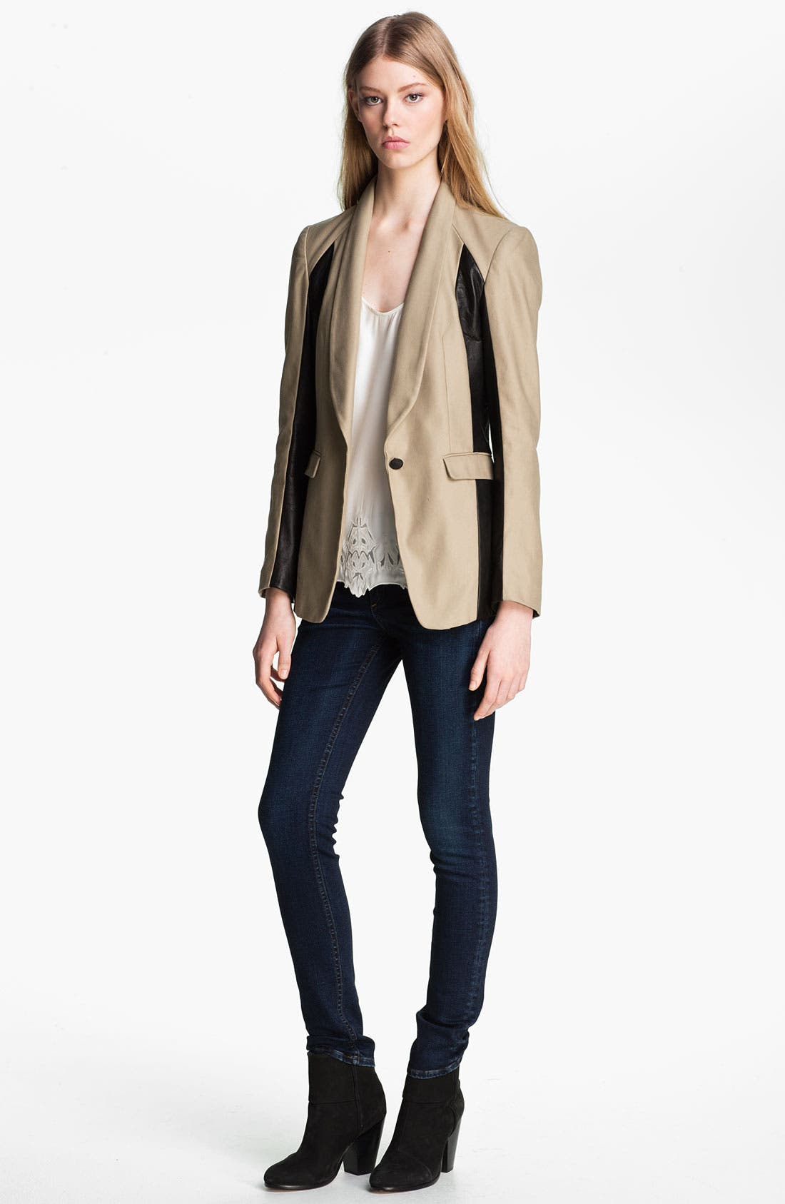 Main Image - rag & bone 'Jefferson' Leather Panel Blazer