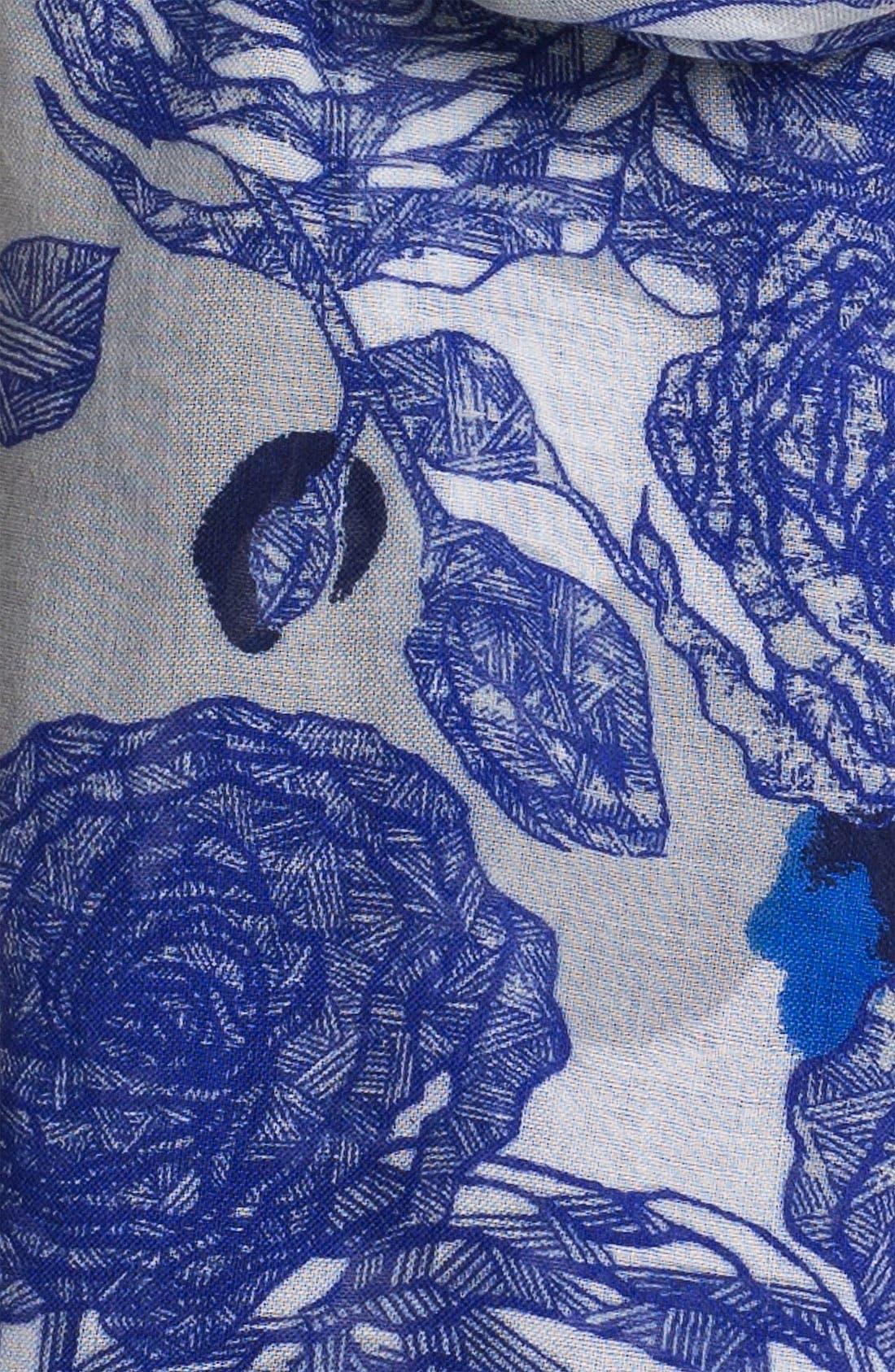 Alternate Image 2  - Halogen® 'Inked Floral' Scarf