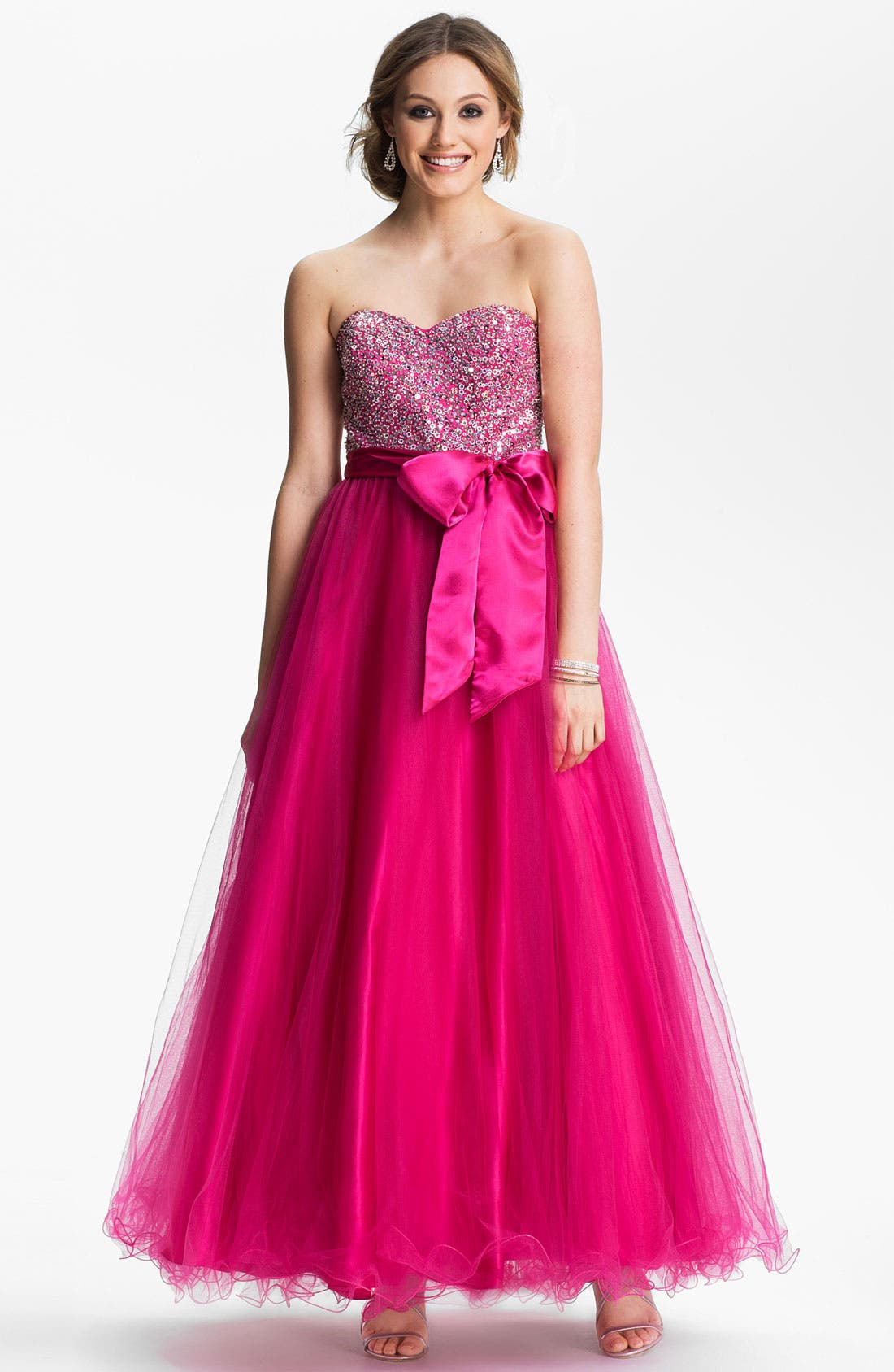 Embellished Tulle Ball Gown,                         Main,                         color, Fuchsia