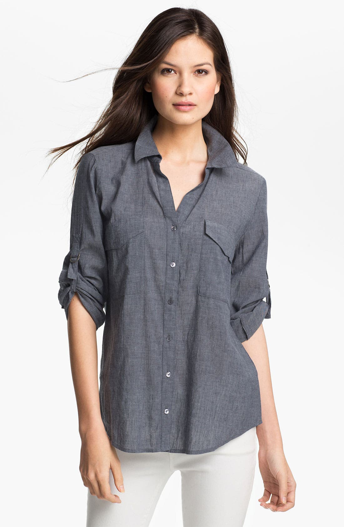Alternate Image 1 Selected - Eileen Fisher Chambray Shirt
