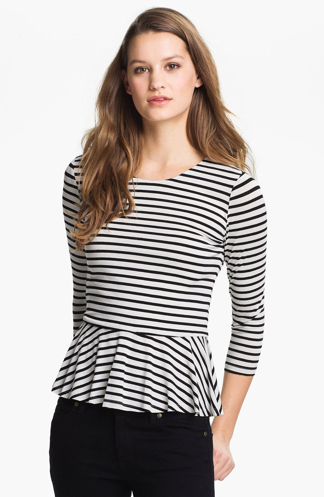 Alternate Image 1 Selected - Vince Camuto Stripe Peplum Top