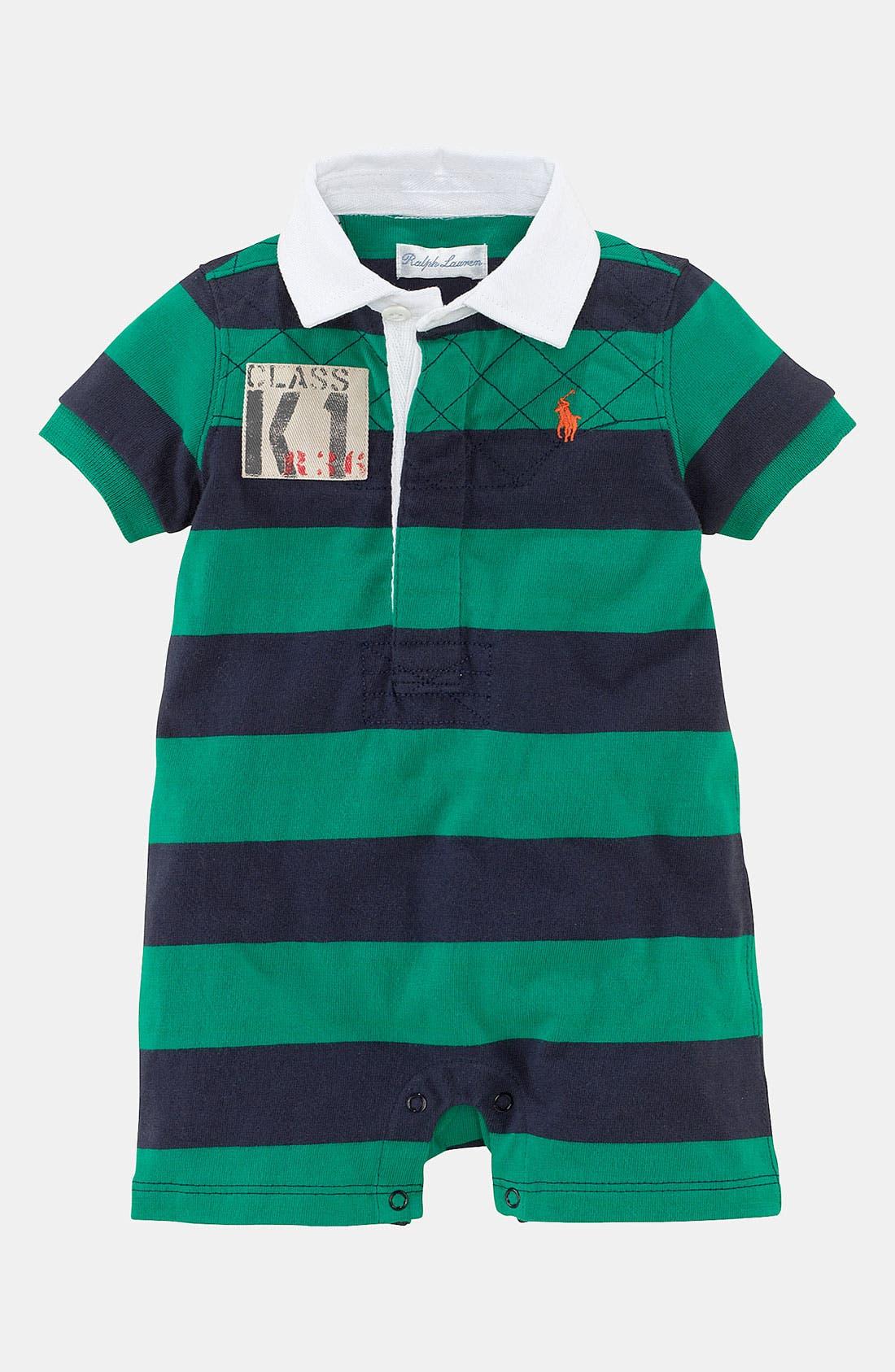 Alternate Image 1 Selected - Ralph Lauren Stripe Romper (Baby)