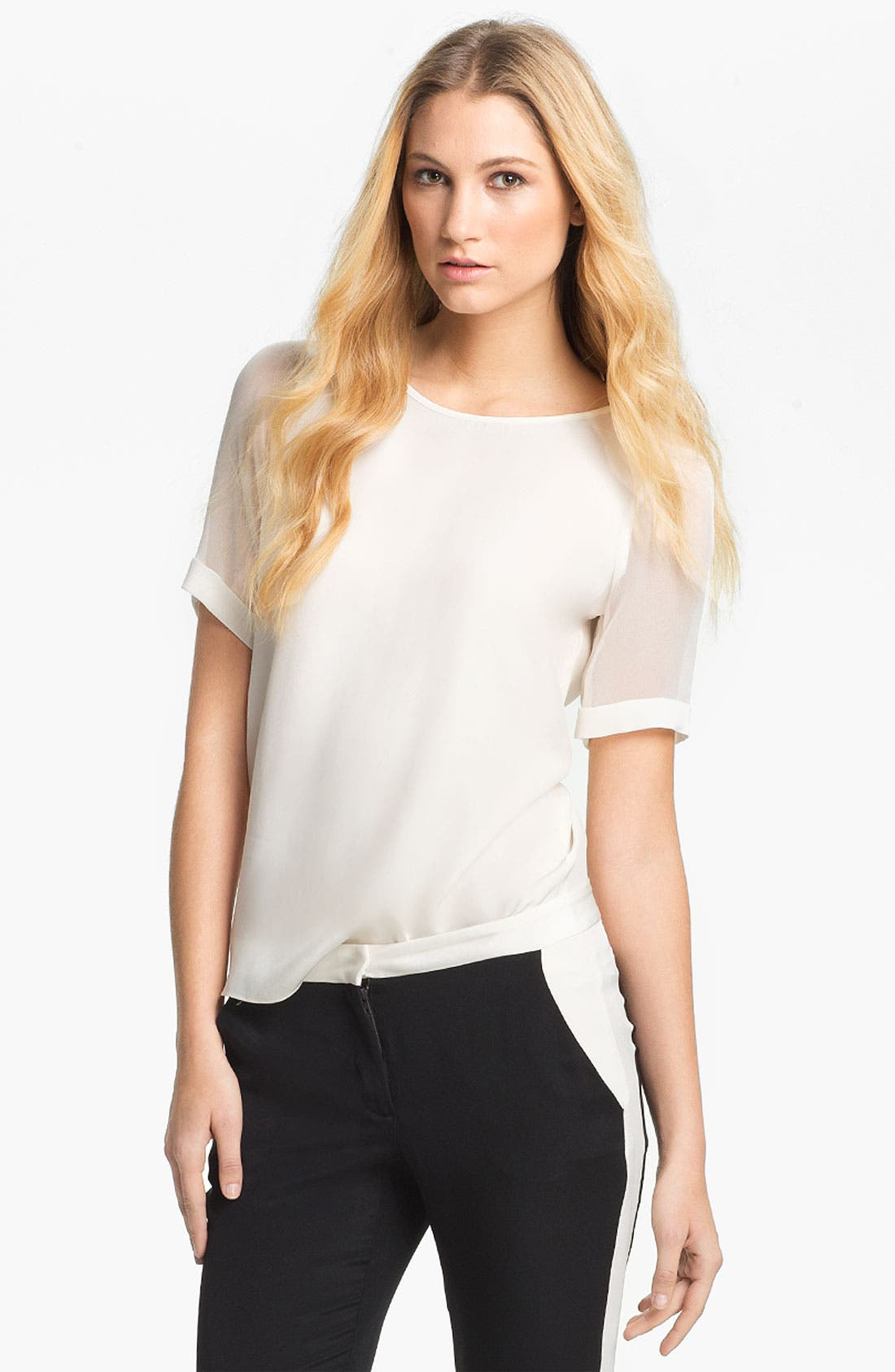 Main Image - Parker Sheer Sleeve Silk Tee