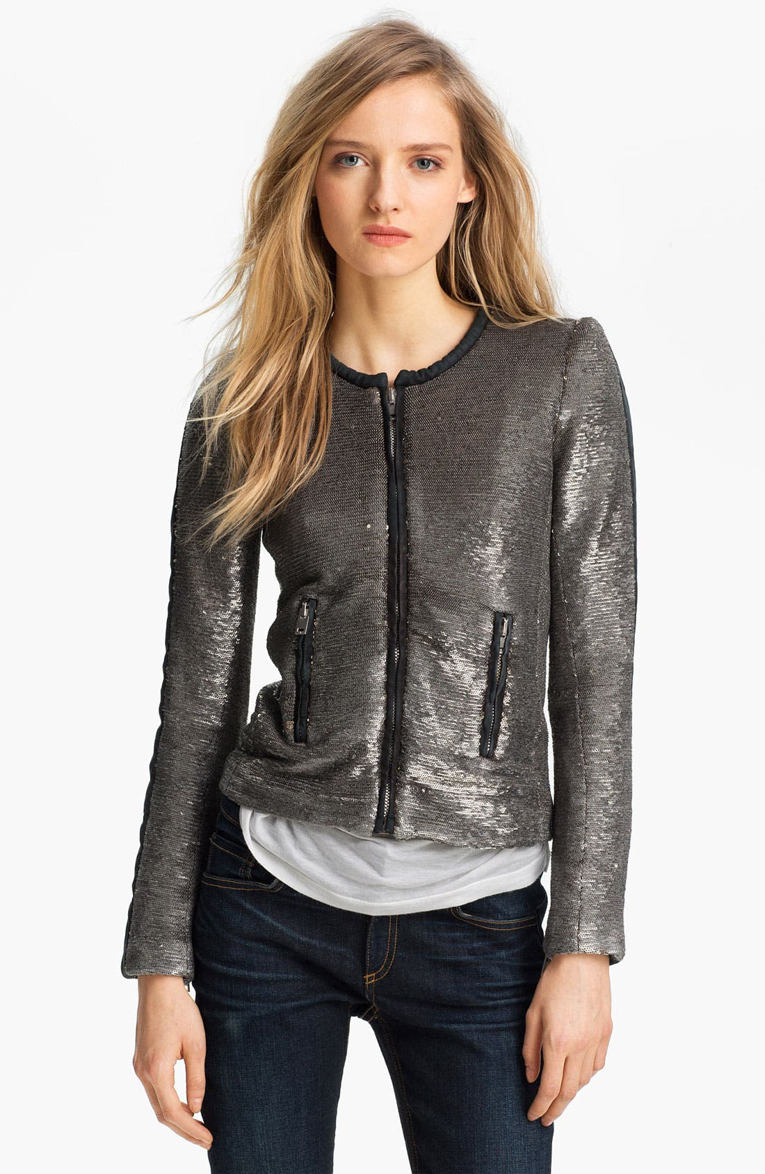 Alternate Image 3  - IRO Collarless Sequin Jacket
