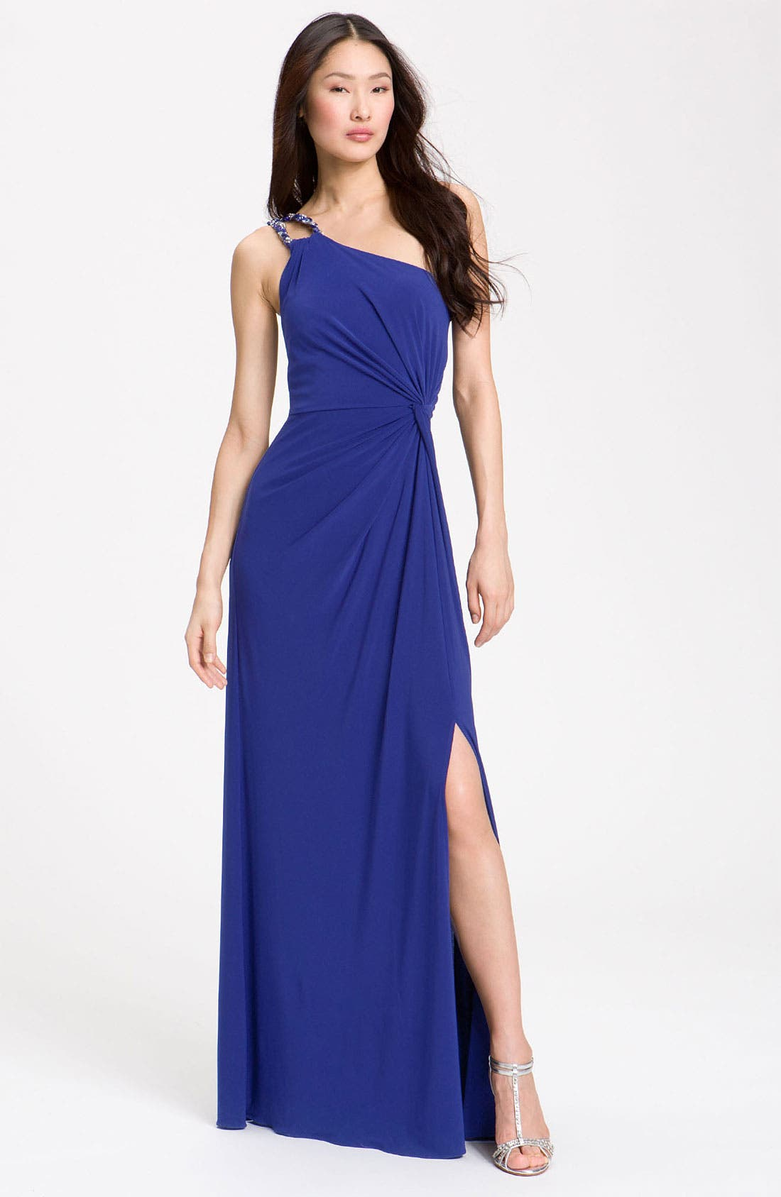 Alternate Image 1 Selected - JS Boutique Knotted One Shoulder Dress