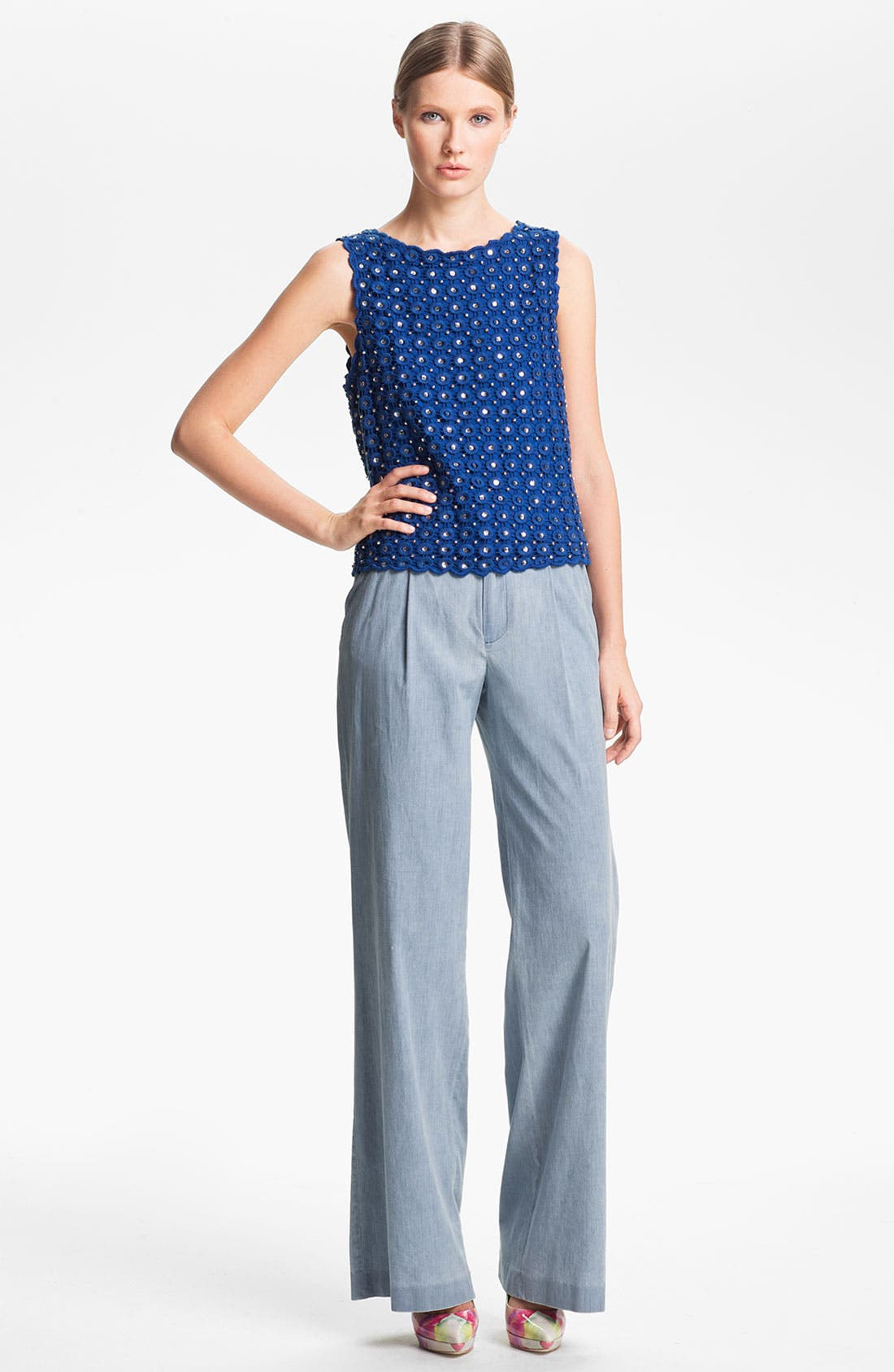 Alternate Image 4  - Alice + Olivia 'Eric' Wide Leg Chambray Denim Pants