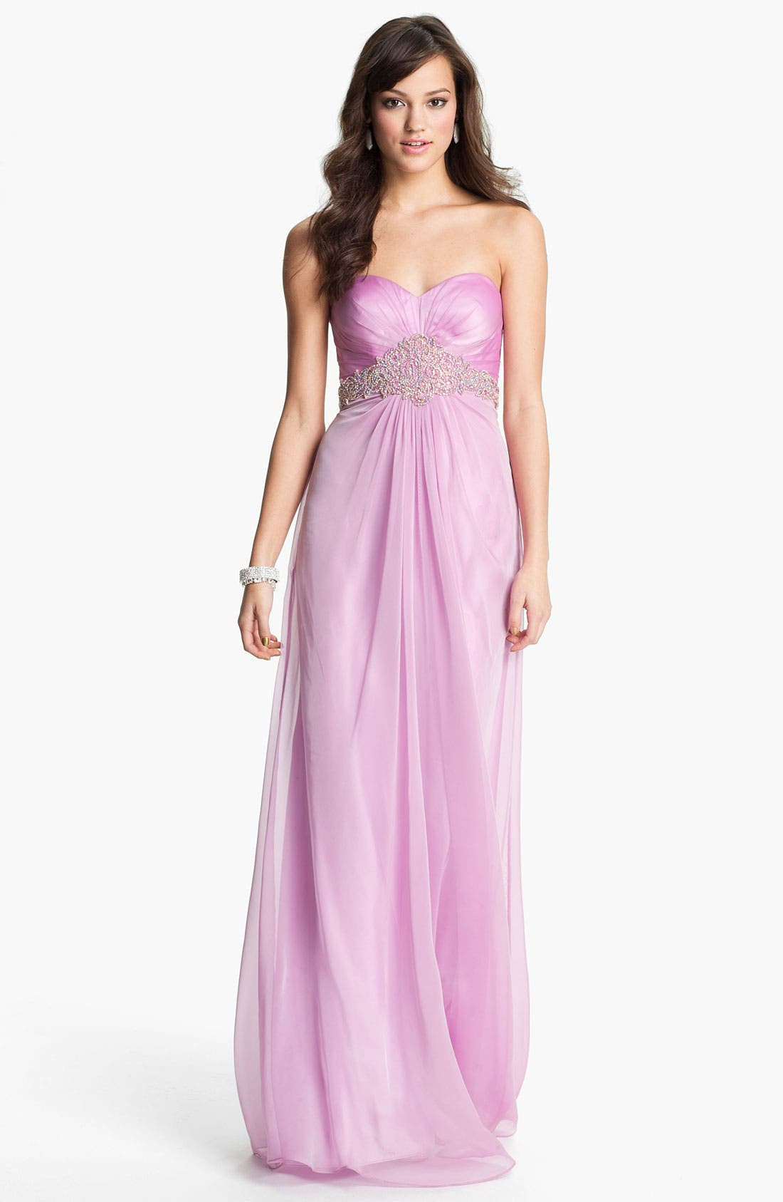 Alternate Image 1 Selected - La Femme Embellished Sweetheart Chiffon Gown