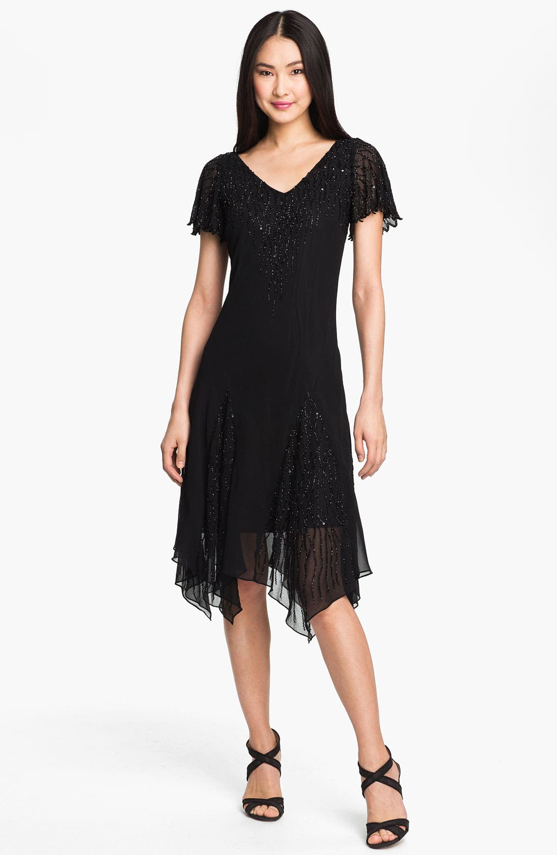 Main Image - J Kara Beaded Bodice Drop Waist Chiffon Dress