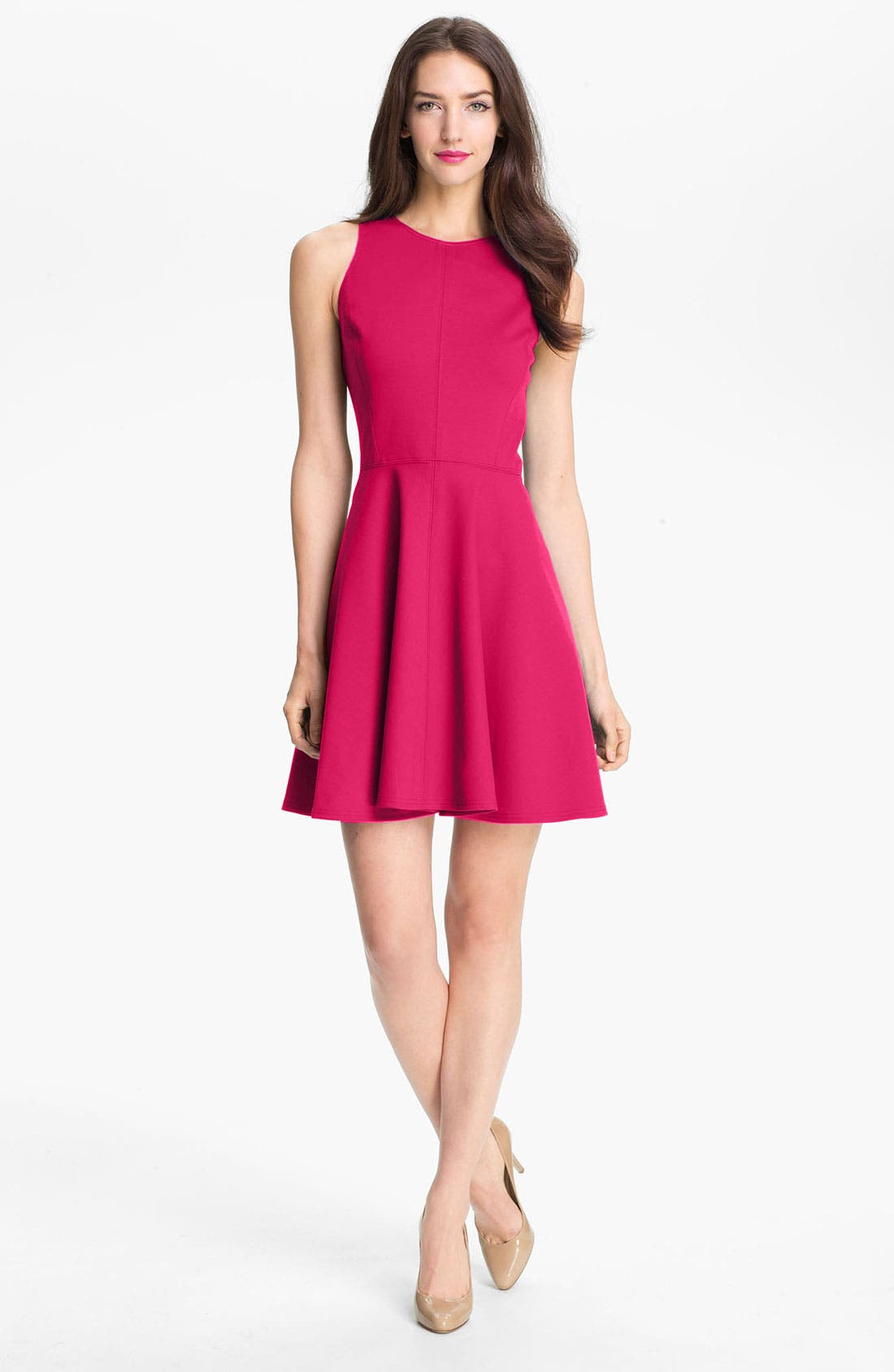 Alternate Image 1 Selected - Rebecca Taylor Pleated Ponte Knit Dress