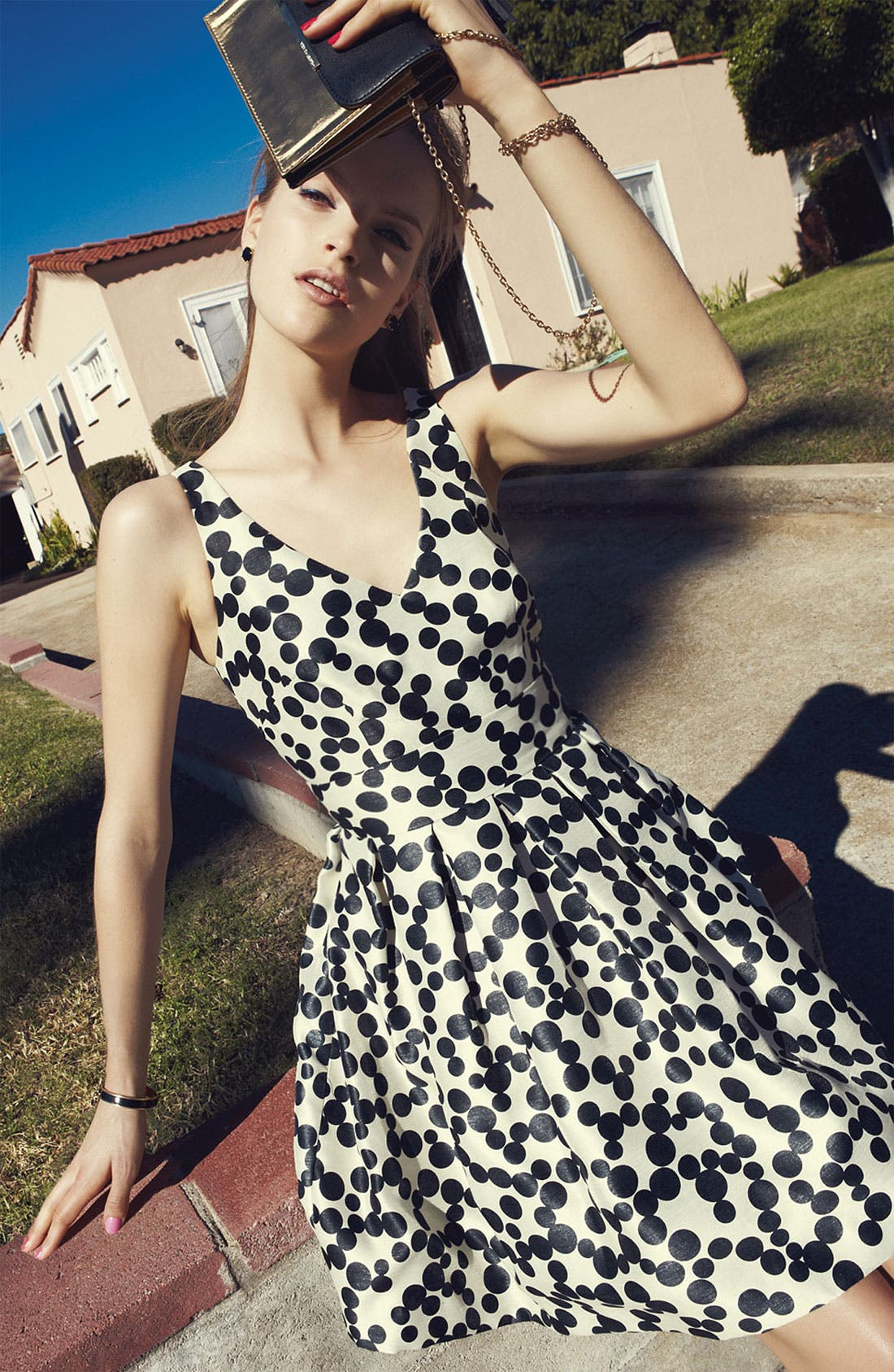 Alternate Image 4  - Taylor Dresses Polka Dot Fit & Flare Dress (Plus Size)