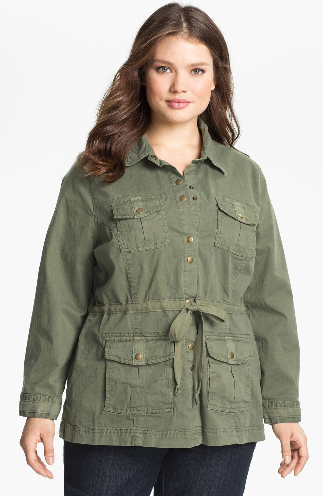 Alternate Image 1 Selected - Lucky Brand Cotton Military Jacket (Plus Size)