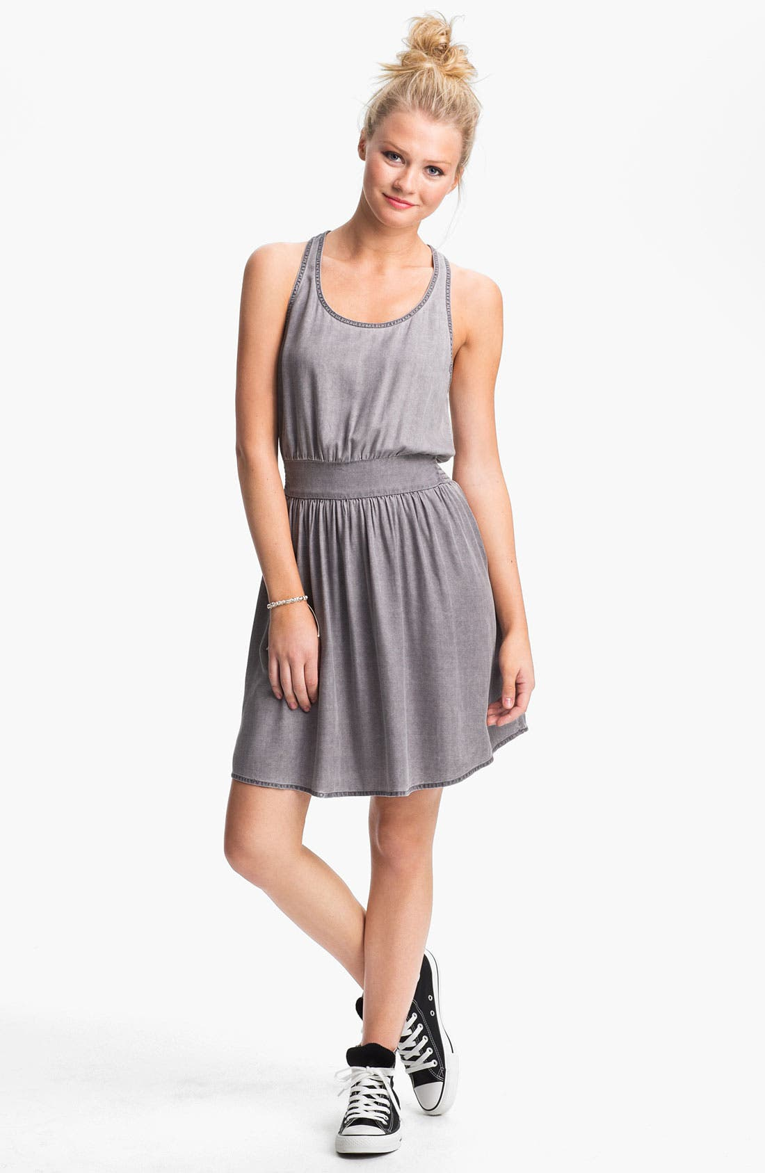 Alternate Image 1 Selected - BP. Chambray Racerback Dress (Juniors)