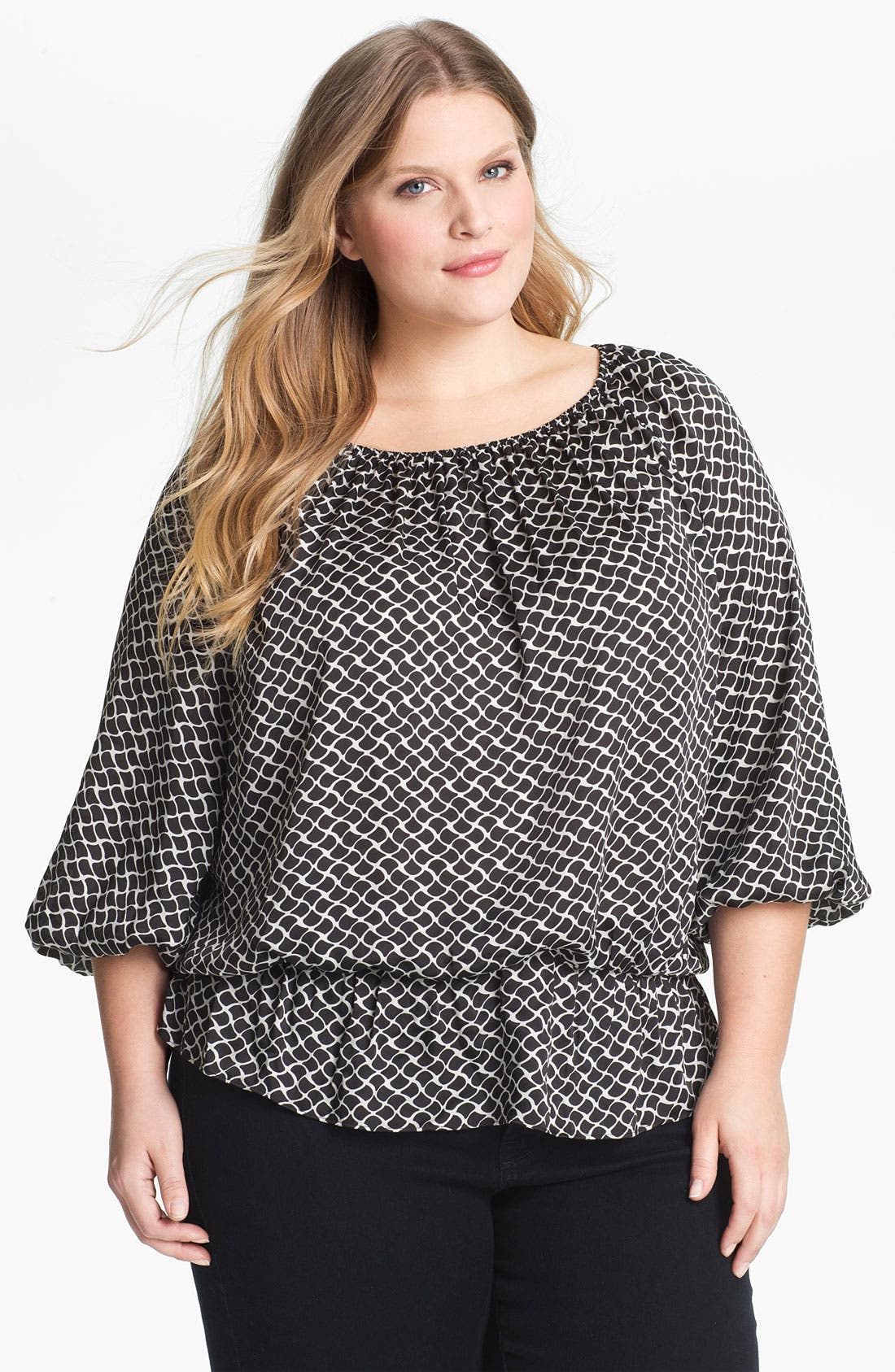 Alternate Image 1 Selected - Vince Camuto Peplum Peasant Blouse (Plus Size)