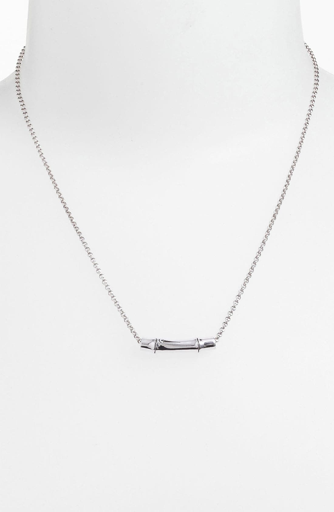 'Bamboo' Slide Pendant Necklace,                             Main thumbnail 1, color,                             Sterling Silver