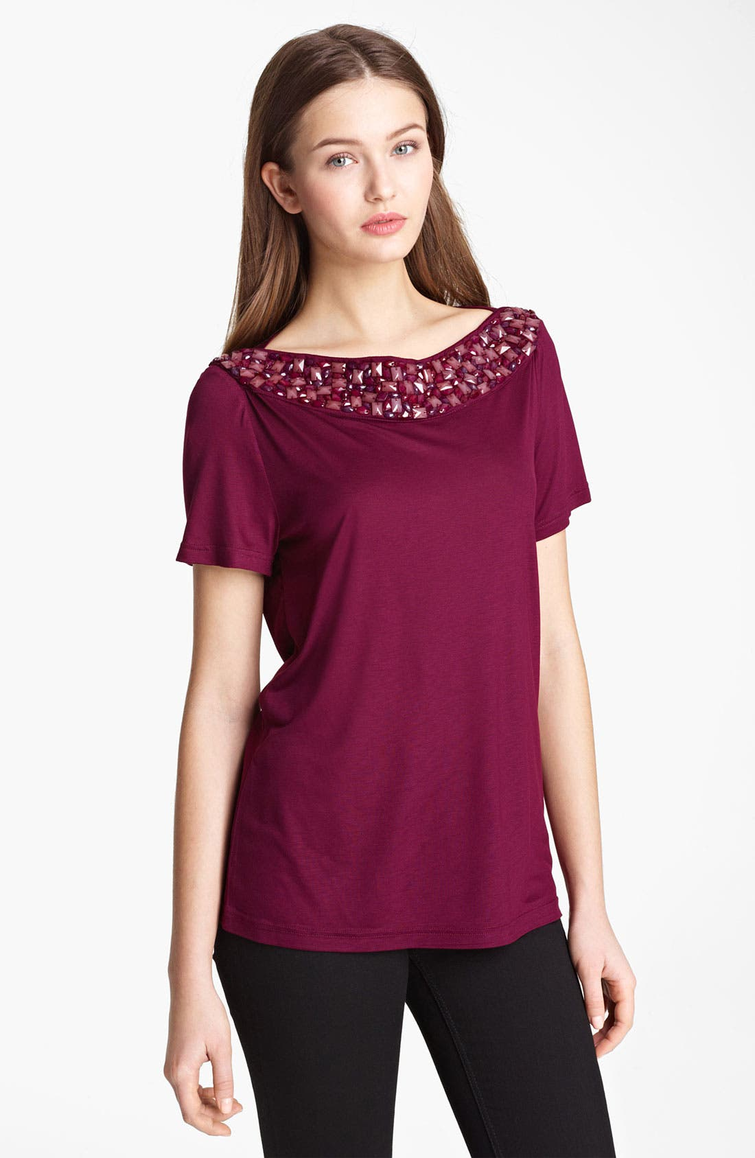 Main Image - Burberry London Embellished Neck Jersey Tee