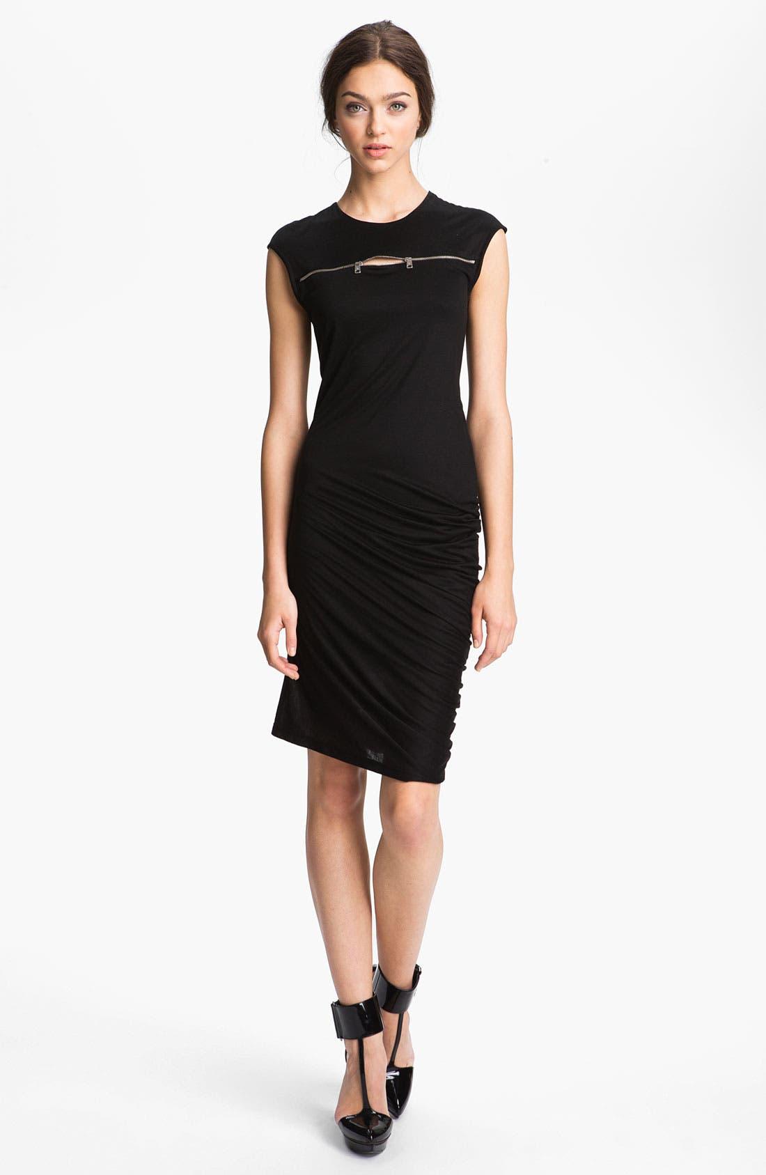 McQ by Alexander McQueen Zip Detail Knit Dress,                         Main,                         color, Black