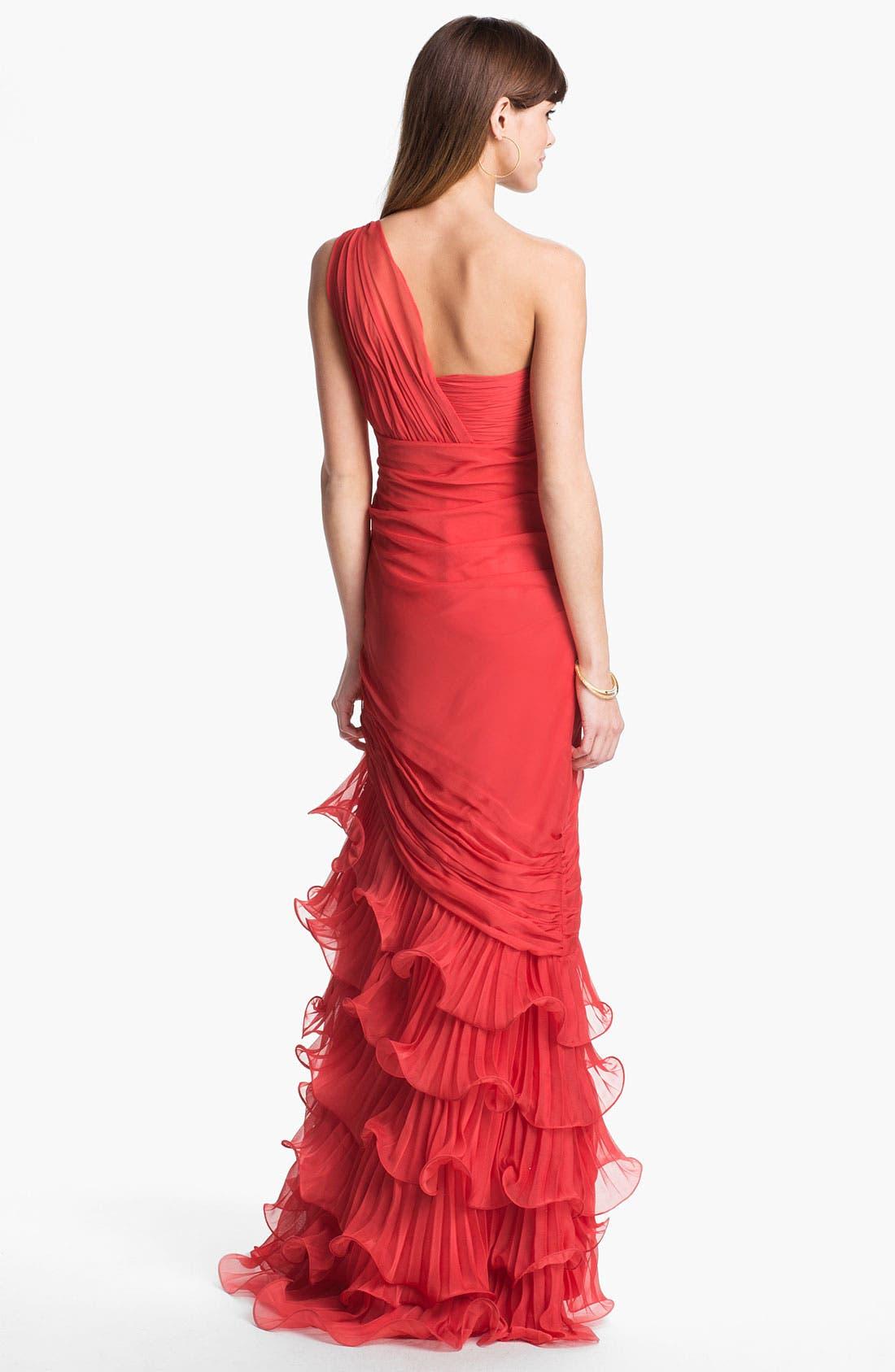 Alternate Image 2  - Dalia MacPhee One Shoulder Ruffle Gown