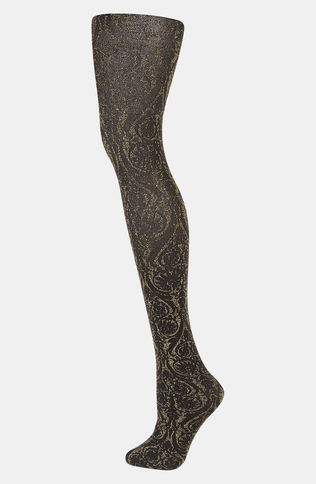 Alternate Image 1 Selected - Topshop Gold Brocade Tights