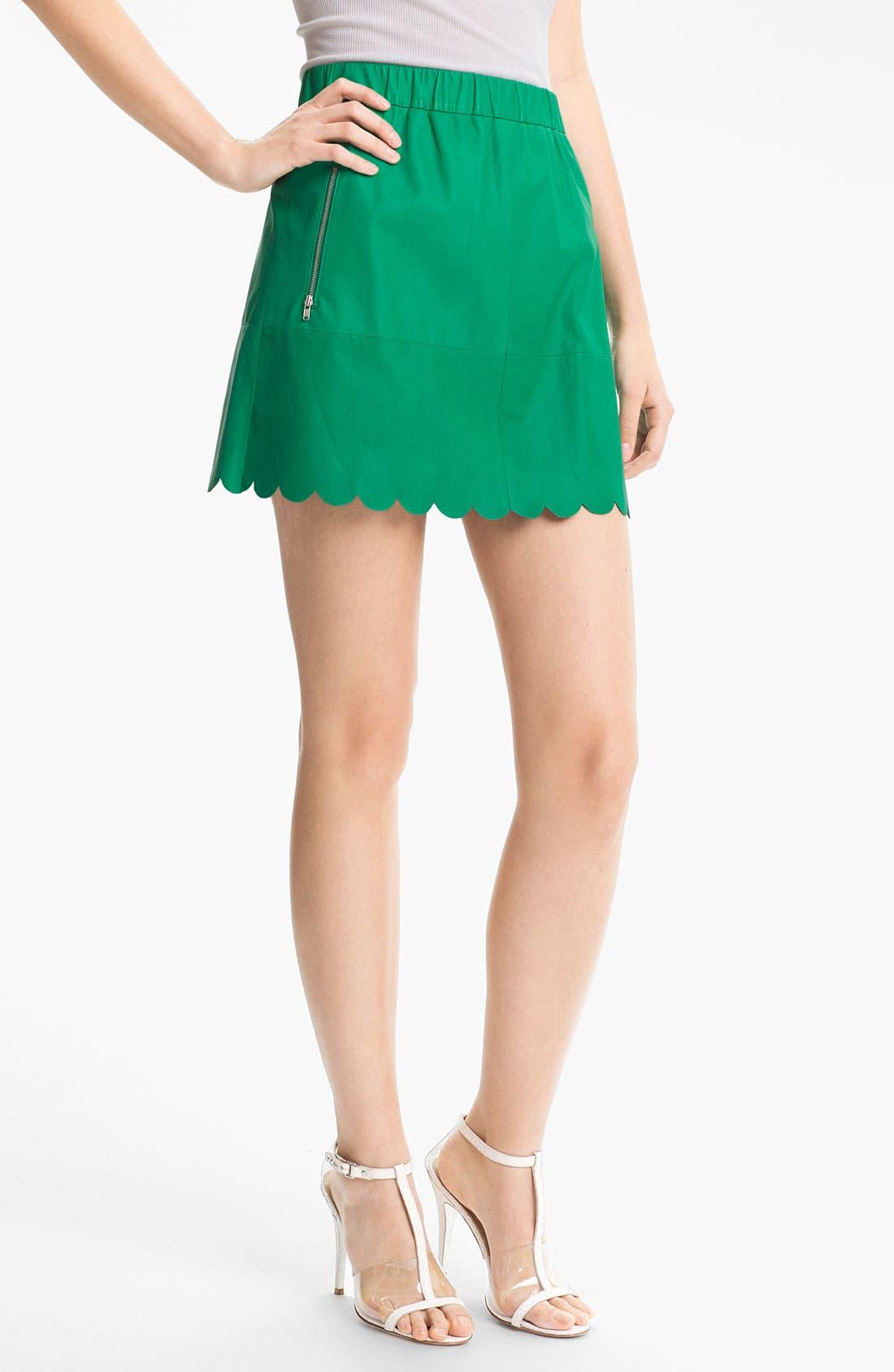 Main Image - Tracy Reese Lambskin Leather Miniskirt