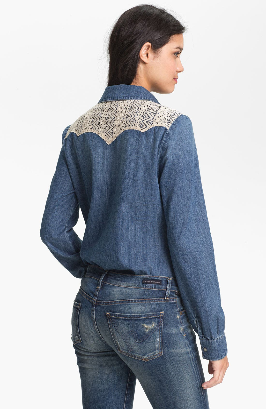 Alternate Image 2  - Sanctuary Lace Trim Denim Shirt