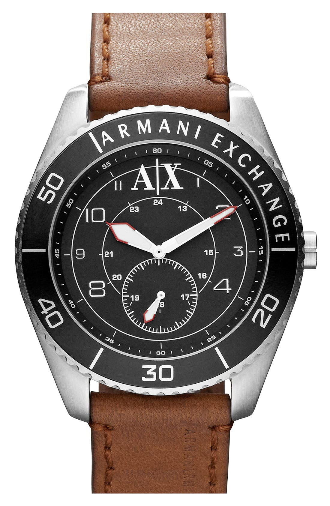 Main Image - AX Armani Exchange Round Leather Strap Watch, 45mm