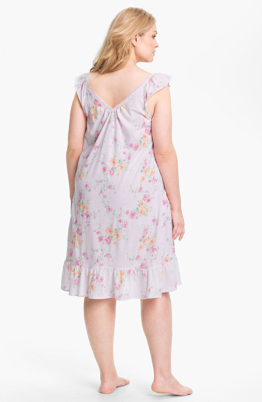 Alternate Image 2  - Lauren Ralph Lauren Sleepwear Short Ruffle Nightgown (Plus)