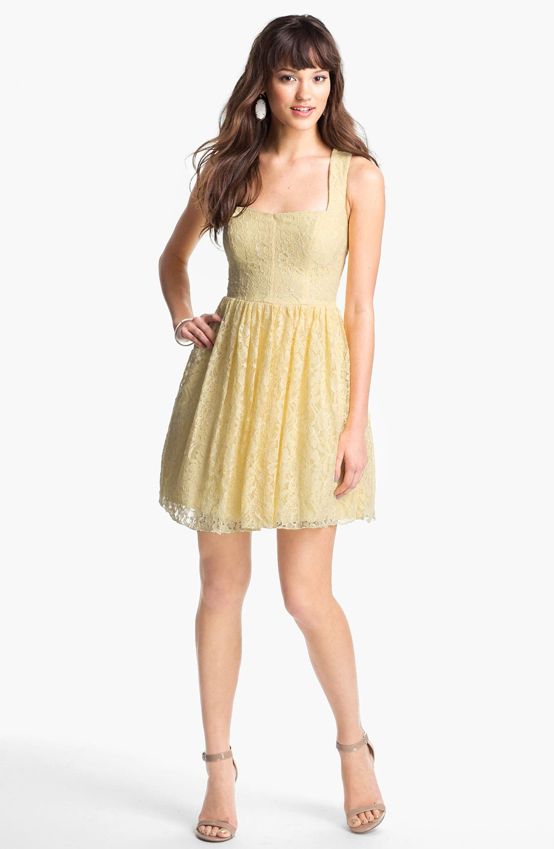 Alternate Image 1 Selected - Way-In Cross Back Lace Dress (Juniors)